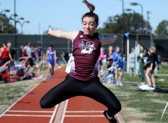 Bowie's Abby Zamzow competes in the long jump at the PK Relay Saturday, March 16, 2019, in Graham.