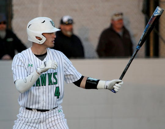 Iowa Park's Kaden Teafatiller steps into the box in the game against Benbrook Friday, March 15, 2019, in Iowa Park.
