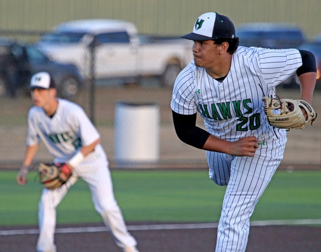 Iowa Park's Chris Dickens pitches against Benbrook Friday, March 15, 2019, in Iowa Park.
