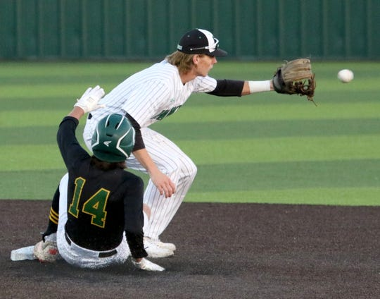 Benbrook's Hunter Rudel slides into second on a double against Iowa Park Friday, March 15, 2019, in Iowa Park.