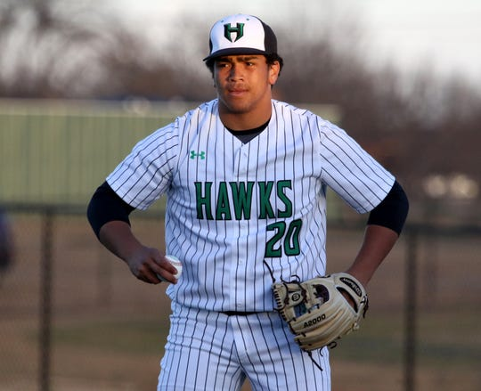 Iowa Park pitcher Chris Dickens gets into position in the game against Benbrook Friday, March 15, 2019, in Iowa Park.