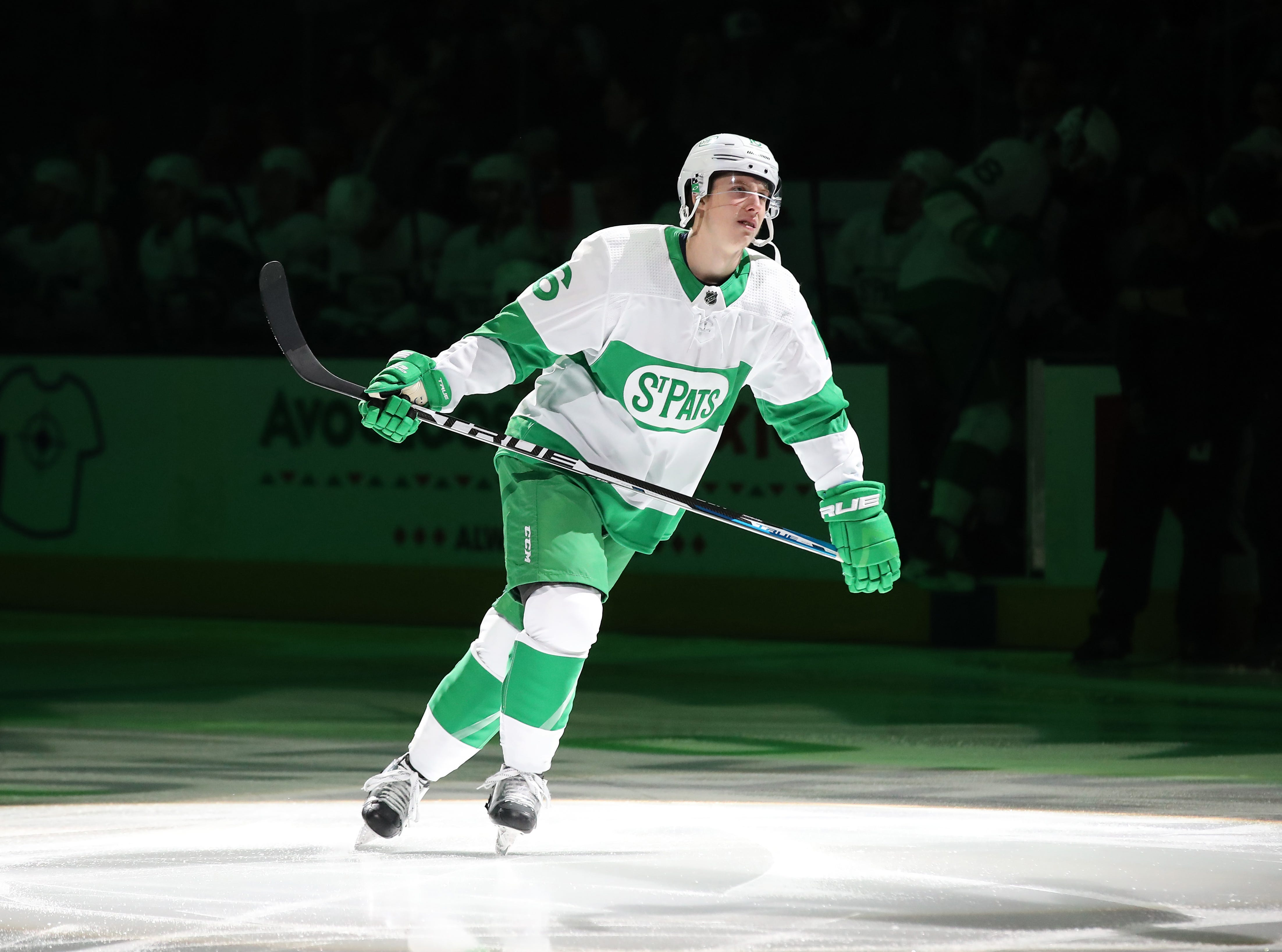 Toronto Maple Leafs right wing Mitchell Marner skates wearing a throwback St. Pats jersey in recognition of St. Patrick's Day before playing against the Philadelphia Flyers at Scotiabank Arena in Toronto.