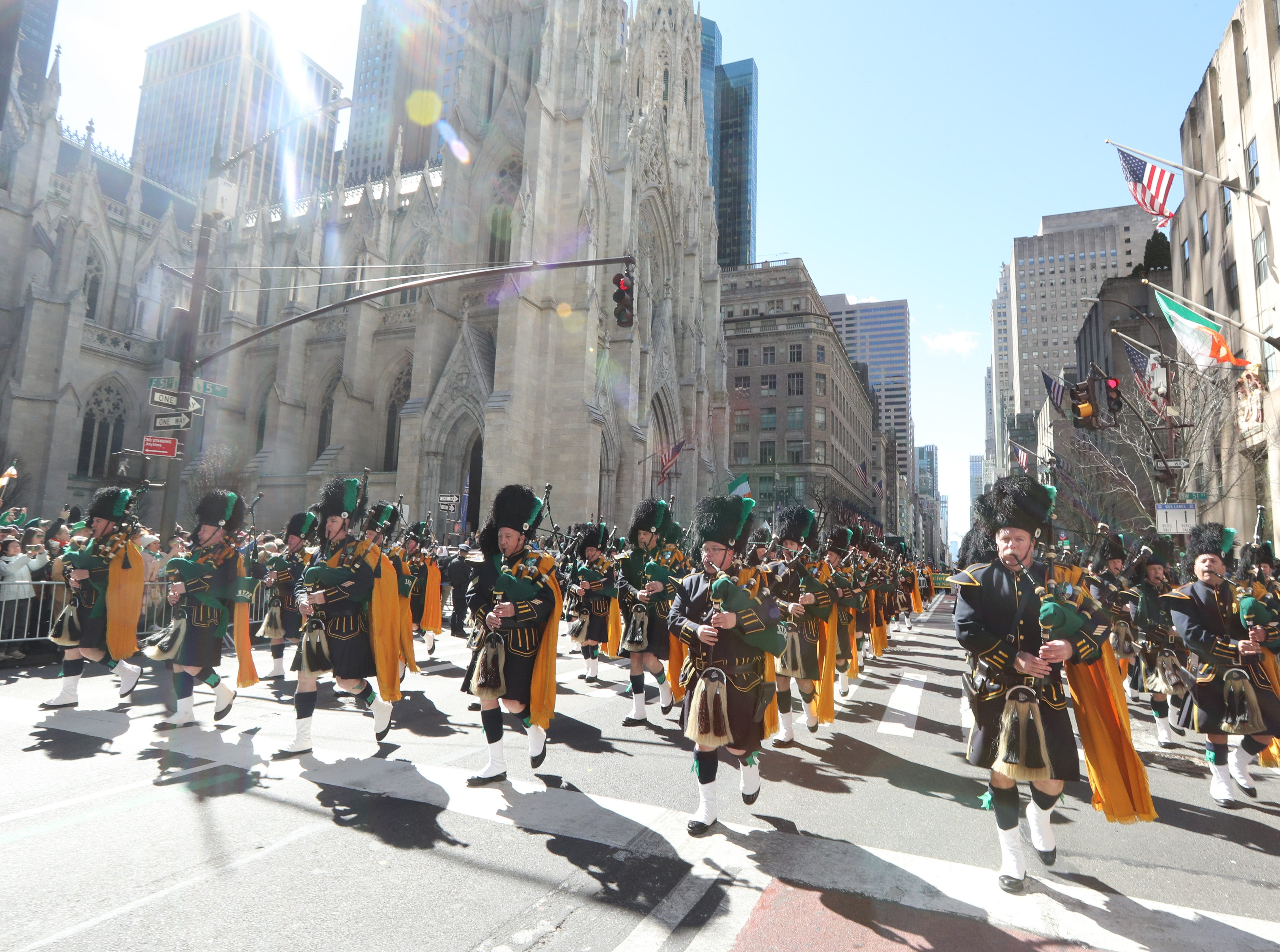 The City of New York Police Department Emerald Society Pipes and Drums march in the 258th annual St. Patrick's Day Parade in New York City on March 16, 2019. Hundreds of thousands of people lined Fifth Ave. as the parade made its way from 44th St. up to 79th St.