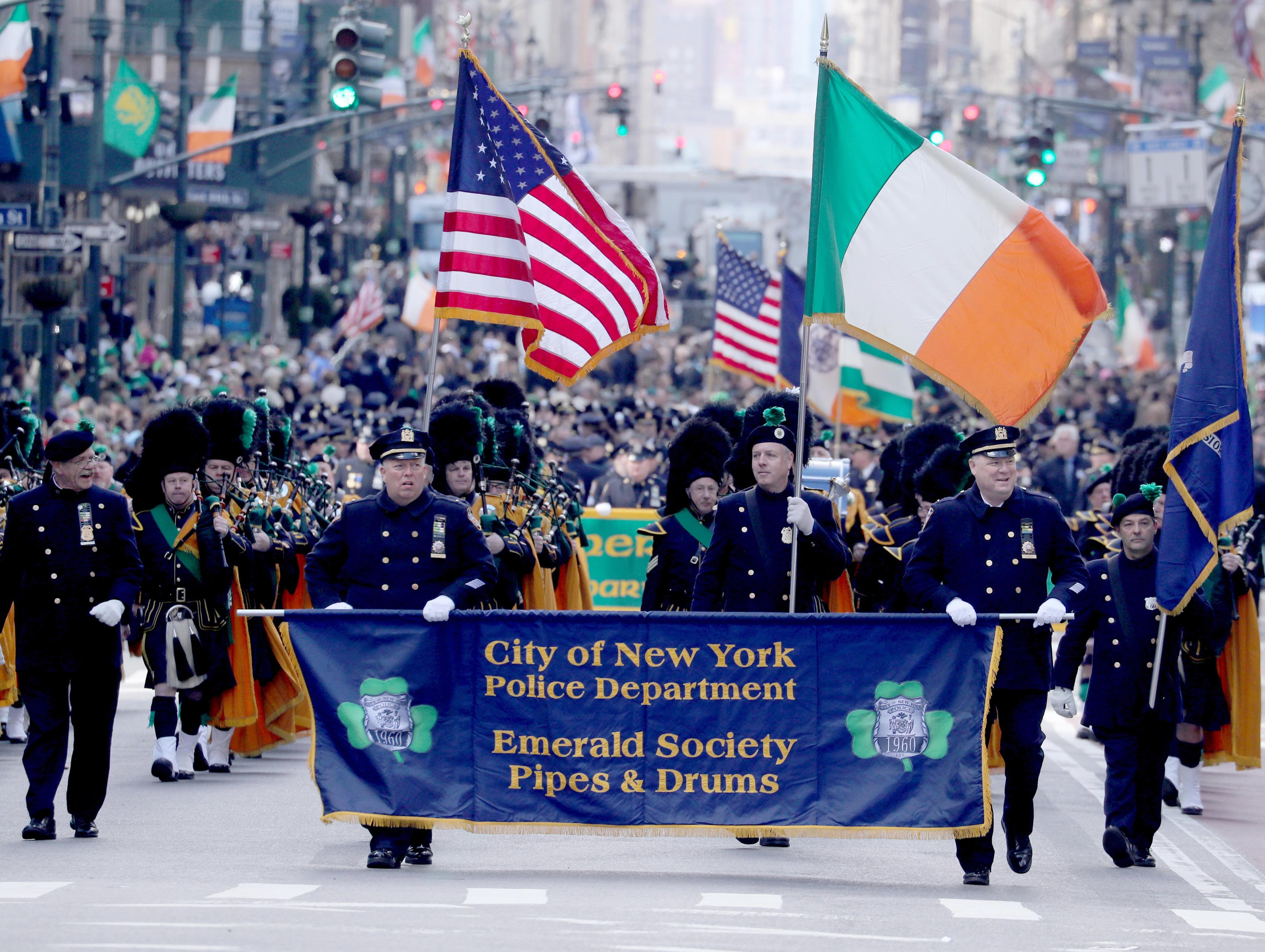The City of New York Police Department Emerald Society Pipes and Drums march in the 258th annual St. Patrick's Day Parade in New York City on March 16, 2019.