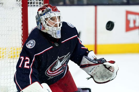 Columbus Blue Jackets goaltender Sergei Bobrovsky keeps an eye on the puck in his 3-0 victory against the Carolina Hurricanes.