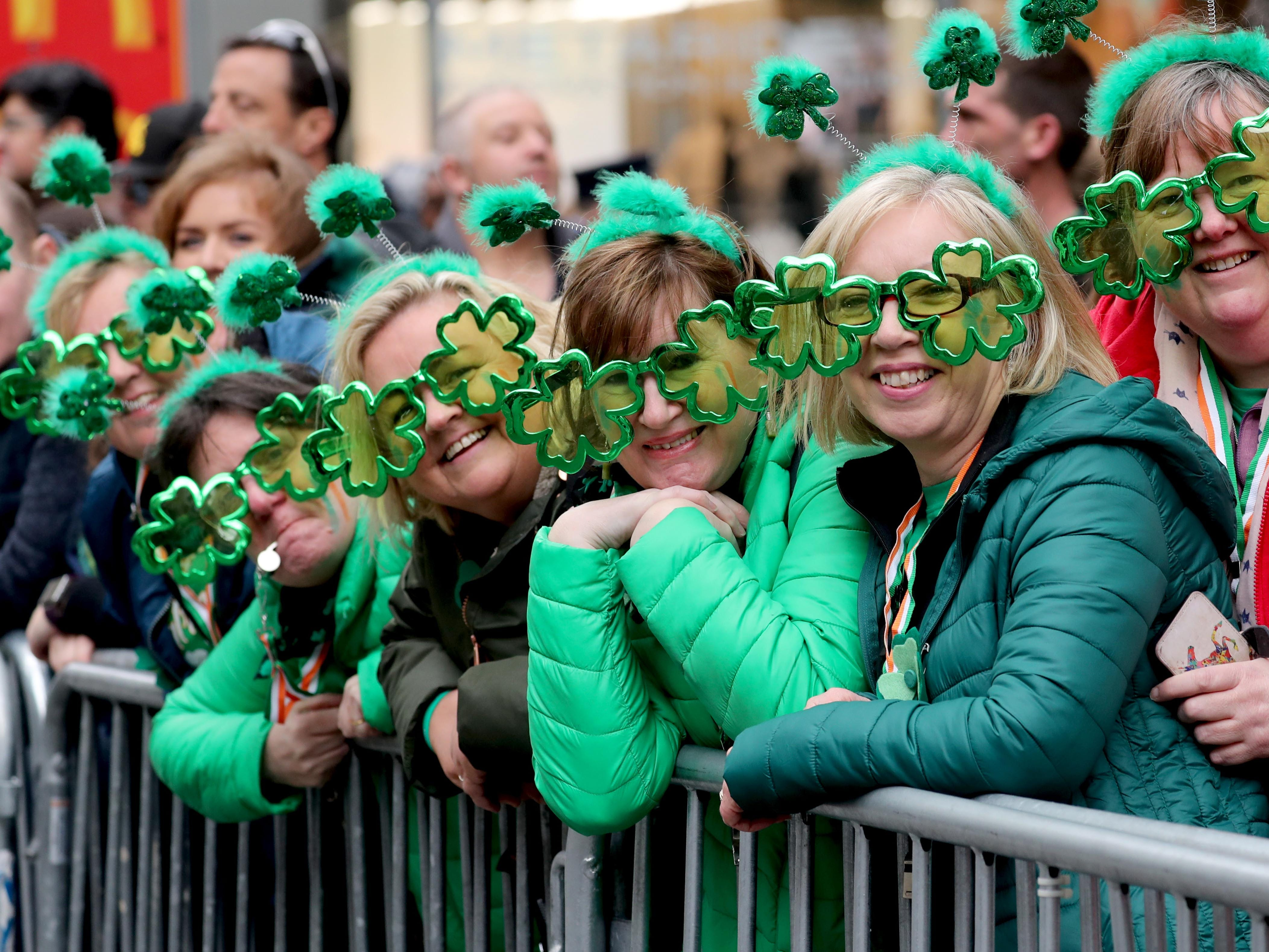 A group of women from Dublin, Ireland were among the many visitors from Ireland attending the 258th annual St. Patrick's Day Parade in New York City on March 16, 2019.
