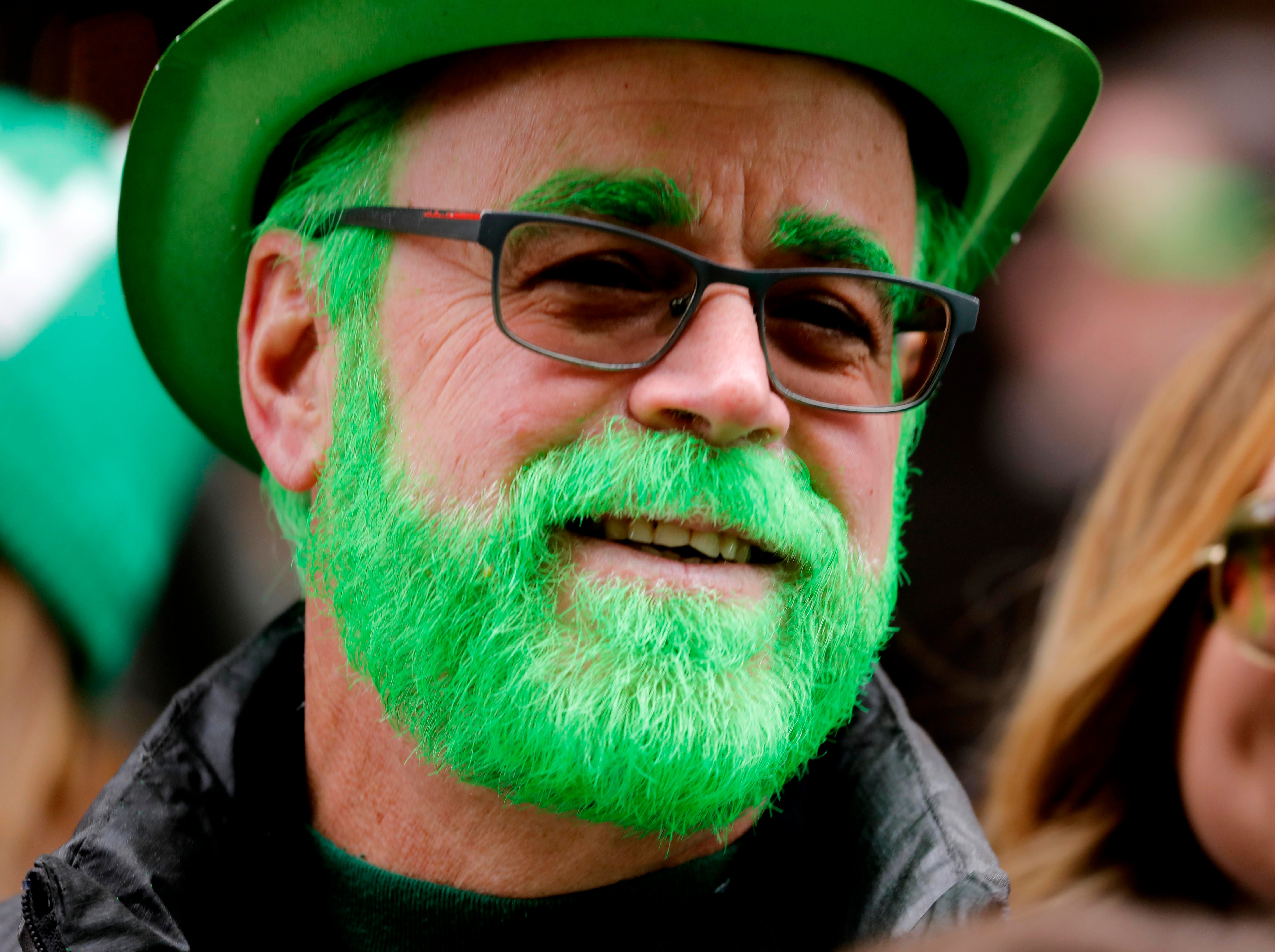 Tom Menton of Yorktown, N.Y. with a beard dyed appropriately for the occasion, was among the hundreds of thousands that lined Fifth Ave. in Manhattan for the 258th annual St. Patrick's Day Parade on March 16, 2019.