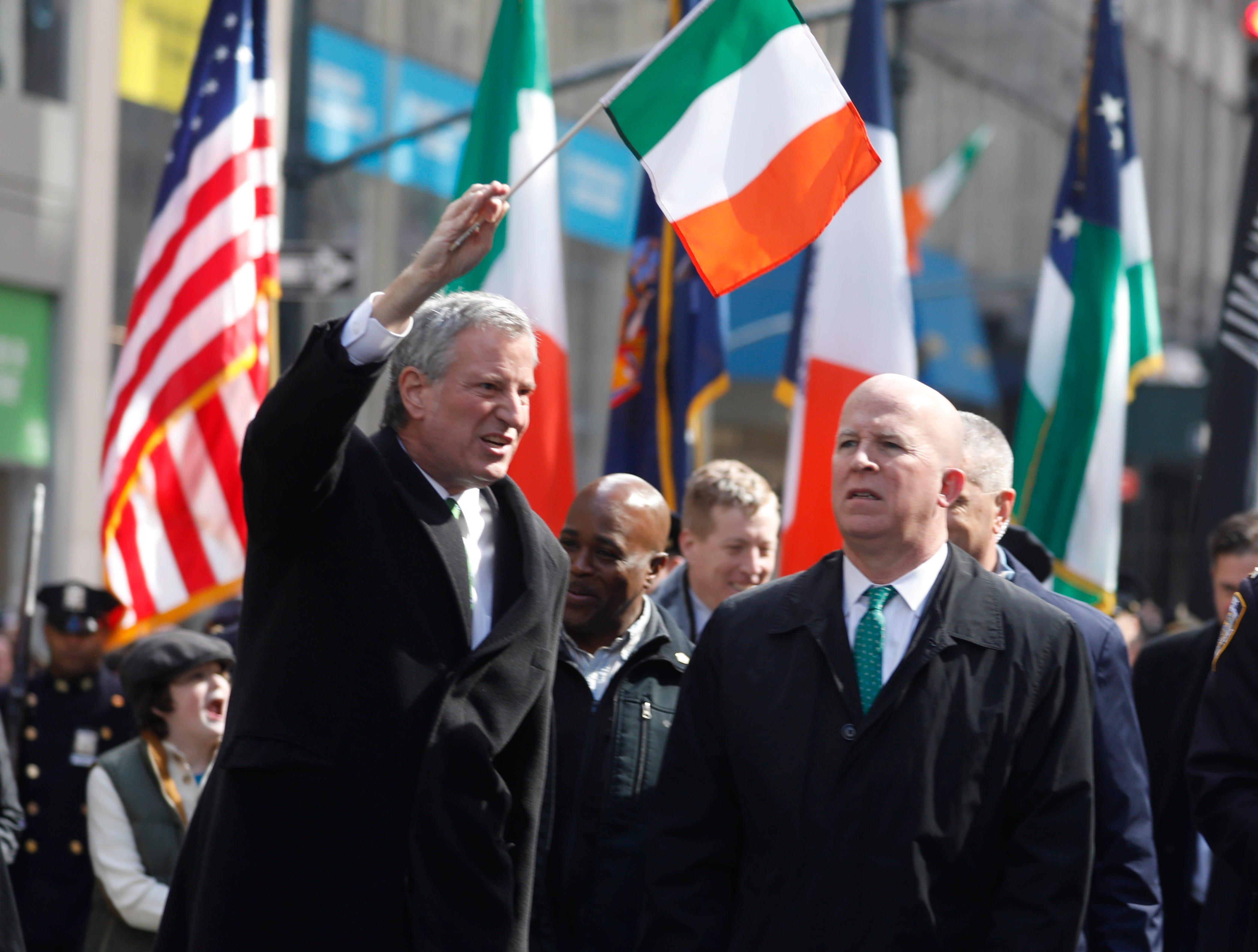 New York City Mayor Bill De Blasio and police commissioner James P. O'Neill march in the 258th annual St. Patrick's Day Parade on March 16, 2019.