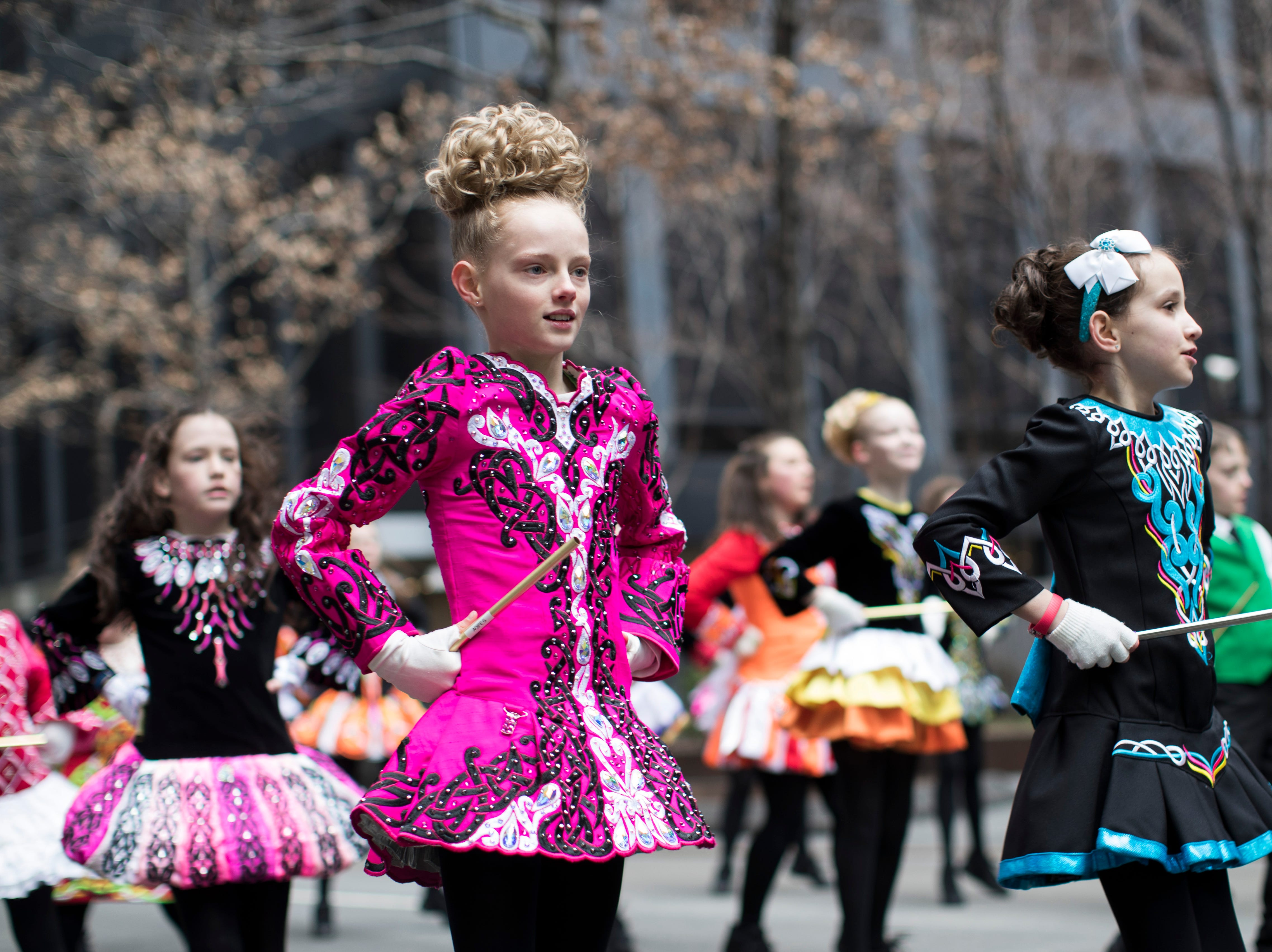 An Irish dance group rehearses ahead of participating in the St. Patrick's Day Parade, Saturday, March 16, 2019, in New York.