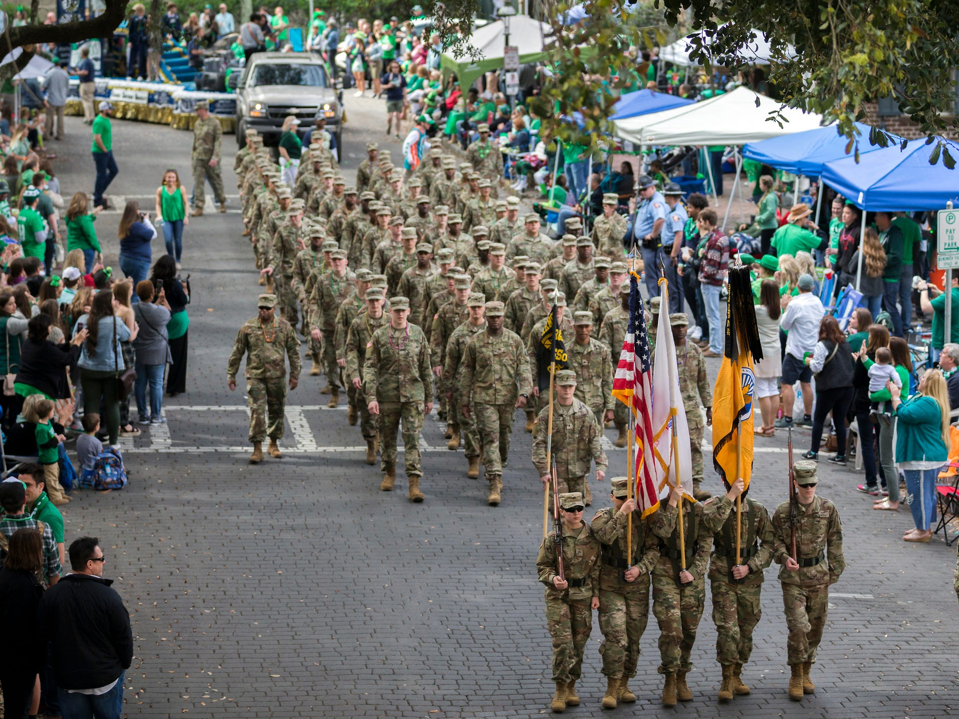 Members of the Georgia Southern University Army ROTC Eagle Battalion marches in the 195-year-old Savannah St. Patrick's Day parade, Saturday, March 16, 2019, in Savannah, Ga.