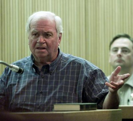"Salvatore ""Tutti"" Lombardino, serving federal time for murder conspiracy, refuses to testify against Aurelio ""Ray"" Cagno in Judge Cleary's courtroom during Cagno's murder trial."