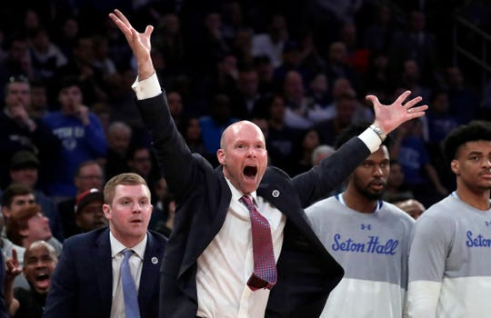 Seton Hall head coach Kevin Willard reacts during the second half of an NCAA college basketball game against Villanova