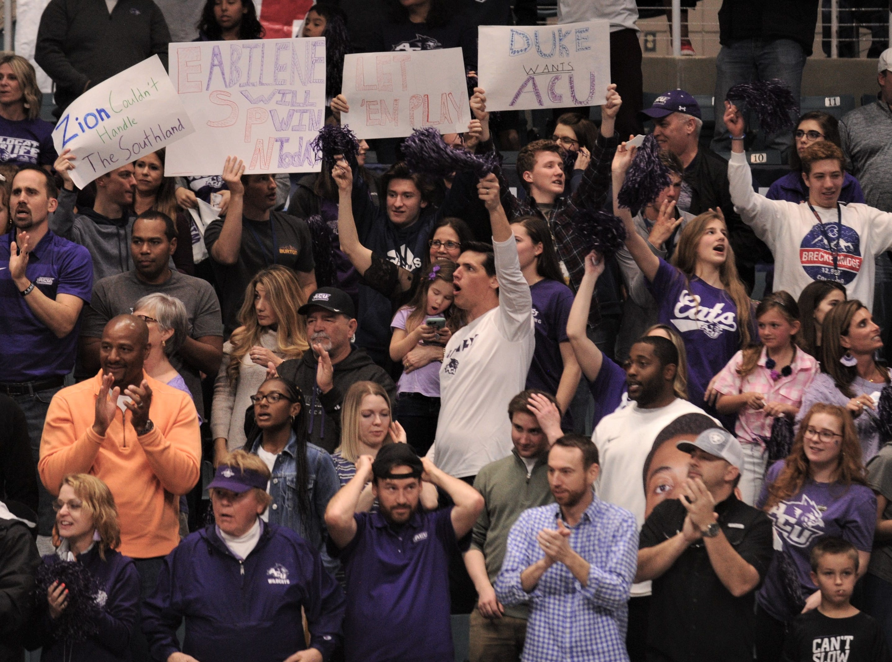 ACU fans cheer on the Wildcats during their game with New Orleans. ACU beat the Privateers 77-60 to win the Southland Conference Tournament title Saturday, March 16, 2019, at the Merrell Center in Katy.