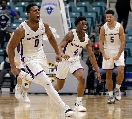 online retailer 466b6 16a3e Abilene Christian guard Jaylen Franklin (0), guard Damien Daniels (4) and