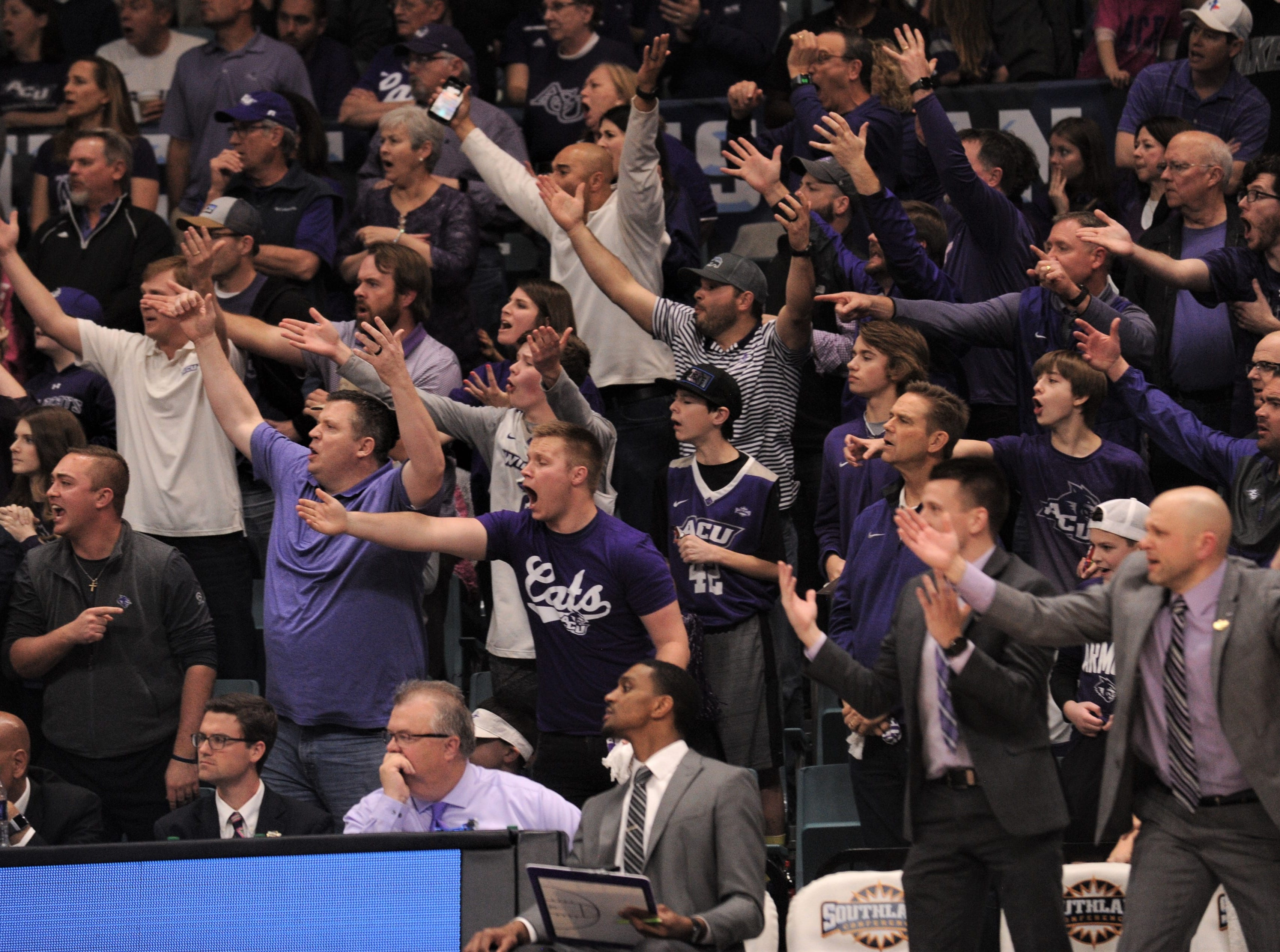 ACU fans react to a call in the second half of the Wildcats' game against New Orleans. ACU beat the Privateers 77-60 to win the Southland Conference Tournament title Saturday, March 16, 2019, at the Merrell Center in Katy.