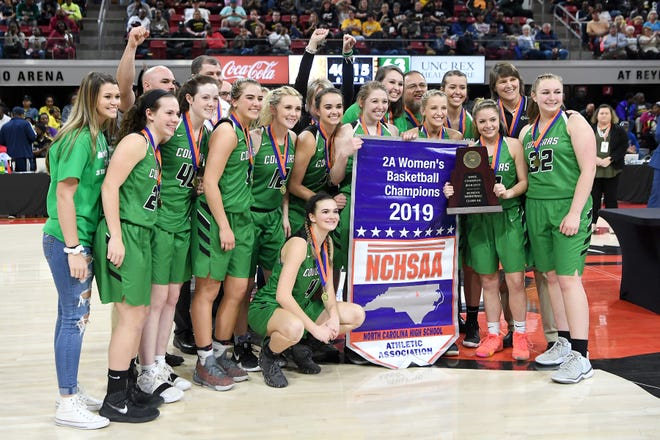 Mountain Heritage took on Farmville Central in the NCHSAA 2A state championship game at N.C State's Reynolds Coliseum on March 16, 2019. The Lady Cougars ended their perfect season as state champions with a 63-53 win.
