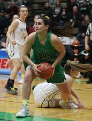 Seton Catholic's Marina Maerkl (24) comes away with a loose ball against Mendon during the girls Class A state championship game at Hudson Valley Community College in Troy March 17, 2019.