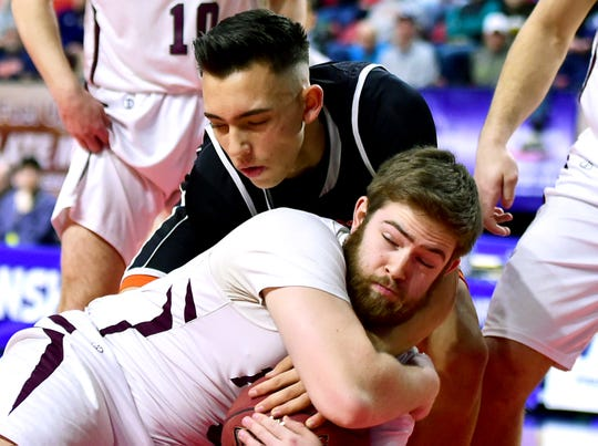 No. 4 Marathon vs. No. 10 Harrisville, NYSPHSAA Boys Basketball State Tournament Class D semifinal, Floyd L. Maines Veterans Memorial Arena, Binghamton. March 16, 2019.