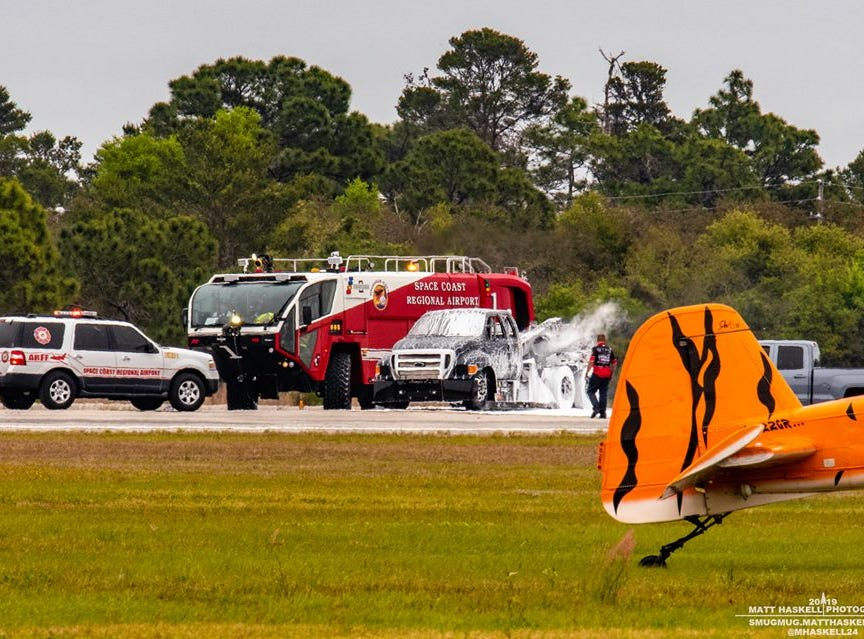Jet truck catches fire at the Space Coast Warbird Airshow