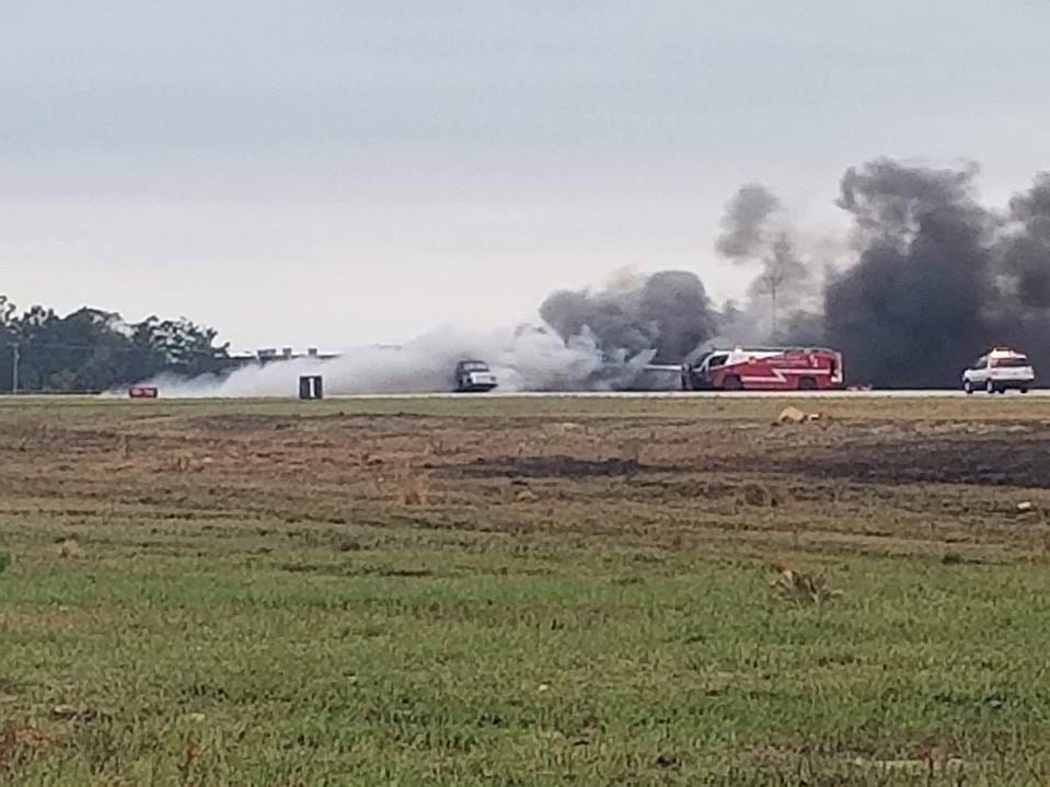 A jet truck catches fire after a demonstration at the Warbird Air Show in Titusville.