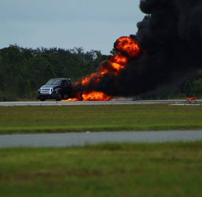 Jet truck bursts into flames at Titusville air show; no injuries