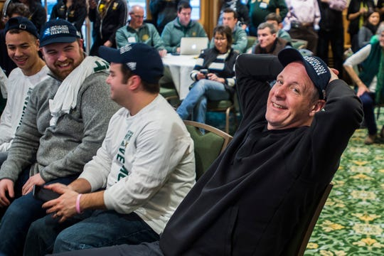 The University of Vermont men's basketball team Head Coach John Becker smiles after his team was selected on Sunday, March 17, 2019, to play Florida State in the NCAA March Madness Tournament on Thursday in Hartford, Conn.