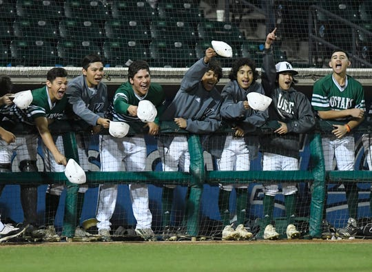"""King's dugout chants """"hats off to the pitcher"""" at the game against Veterans Memorial, Saturday, March 16, 2019, at Whataburger Field."""