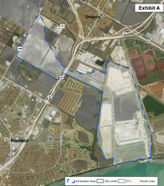 This map shows the boundaries for 1,500 acres of land in San Patricio County that the City of Corpus Christi is proposing to annex into its city limits.