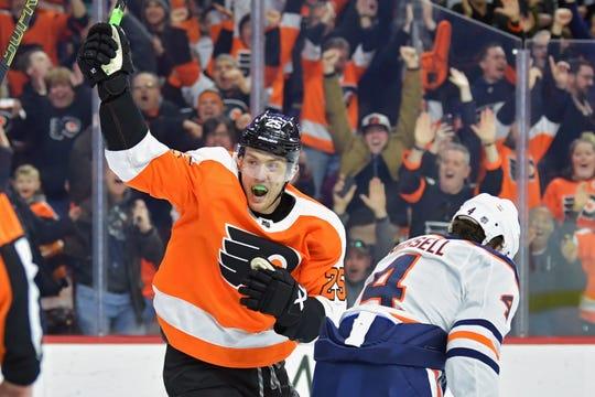 James van Riemsdyk had nine goals in his last 10 games entering Sunday's date with the Penguins.