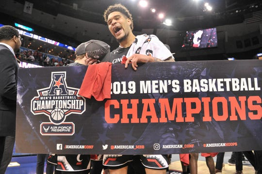 Cincinnati Bearcats guard Jarron Cumberland (34) celebrates after the game against the Houston Cougars in the American Athletic Conference Tournament at FedExForum.