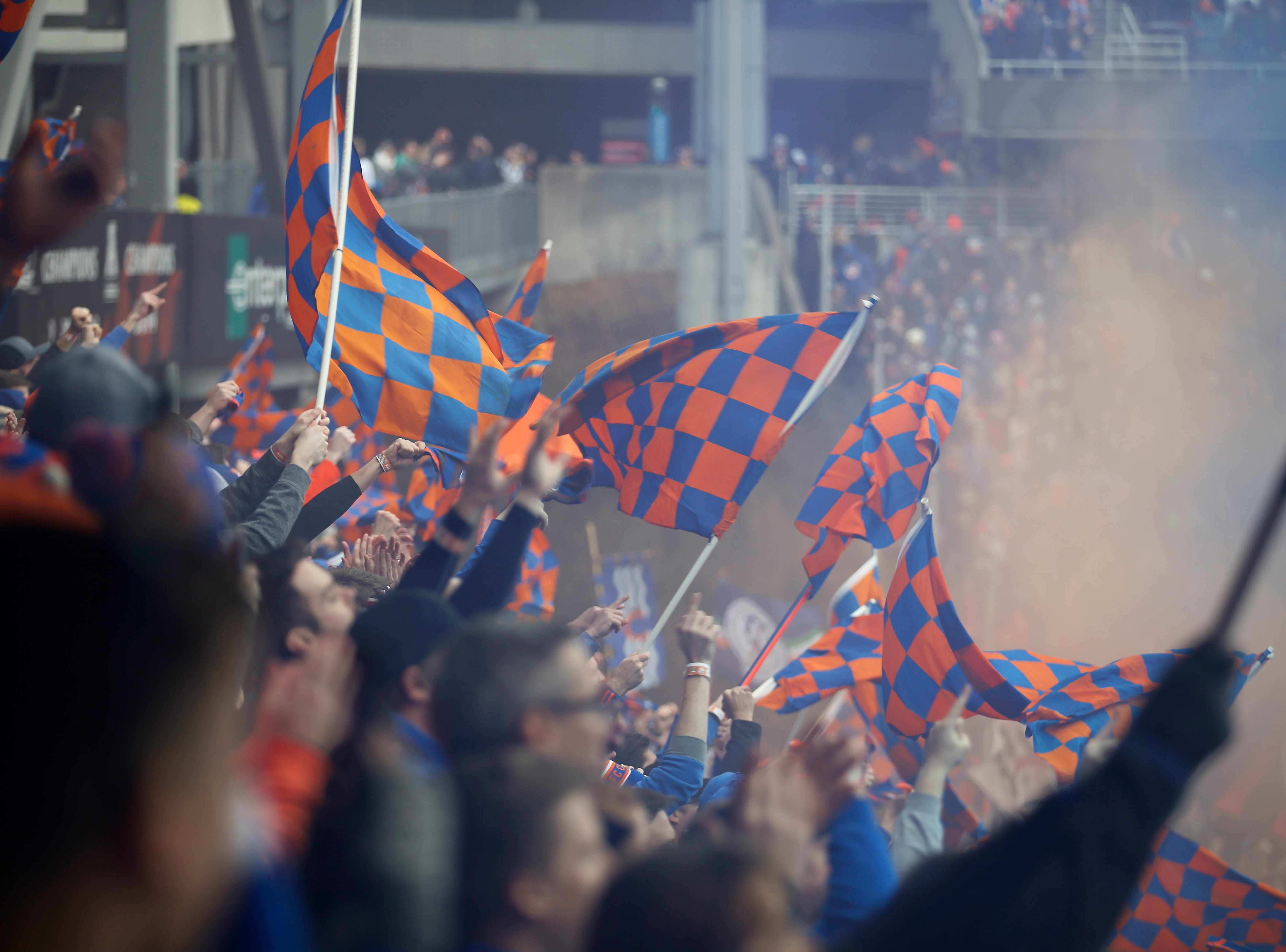 The Bailey celebrates the first home goal for FC Cincinnati as an MLS team in the first half of the MLS match between FC Cincinnati and the Portland Timbers at Nippert Stadium in Cincinnati on Sunday, March 17, 2019. FC Cincinnati led 1-0 at halftime.