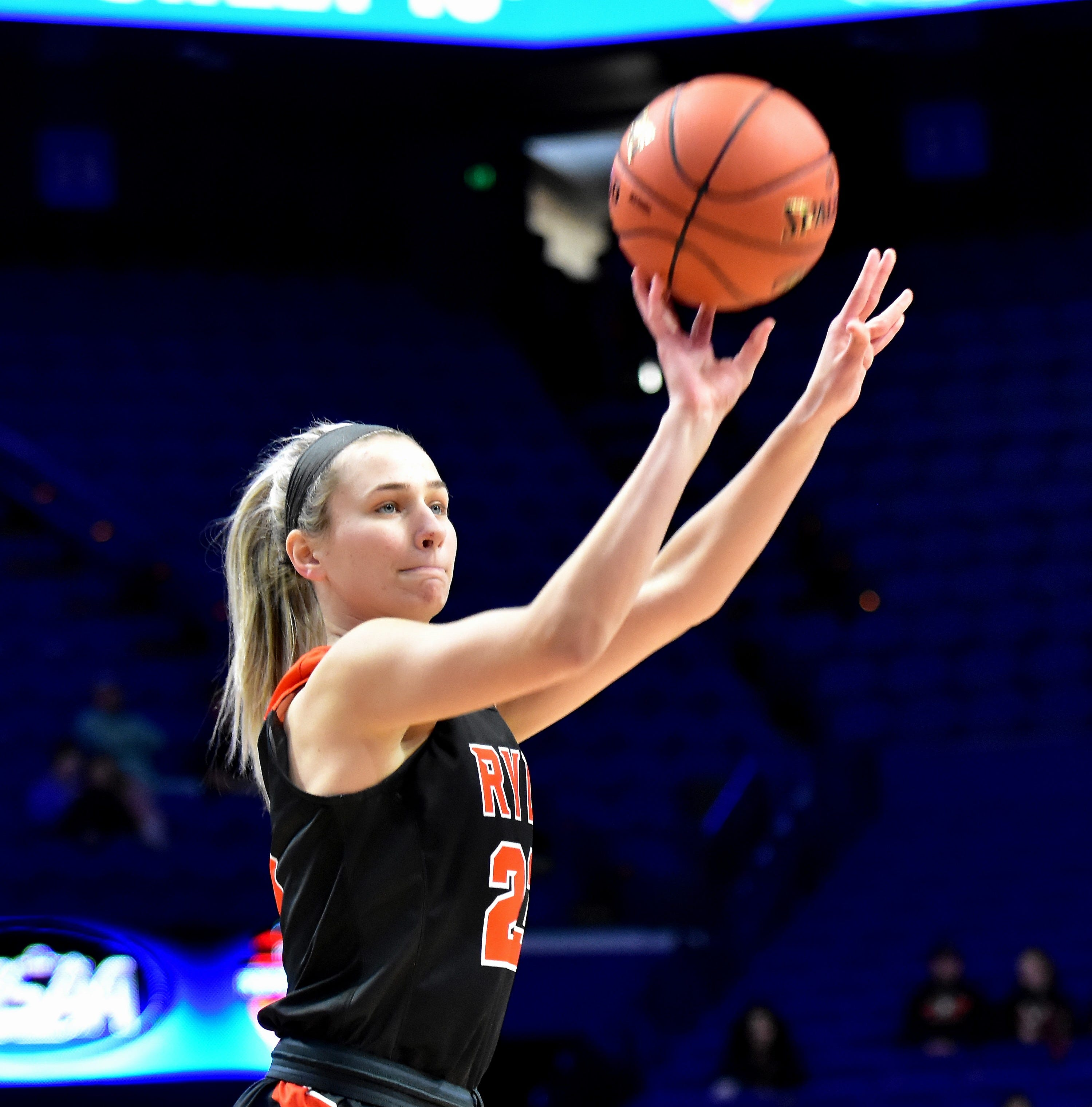 Maddie Scherr pops up a short jump shot for Ryle at the KHSAA Girls Sweet 16 semifinal game at Rupp Arena in Lexington, KY, March 16, 2019