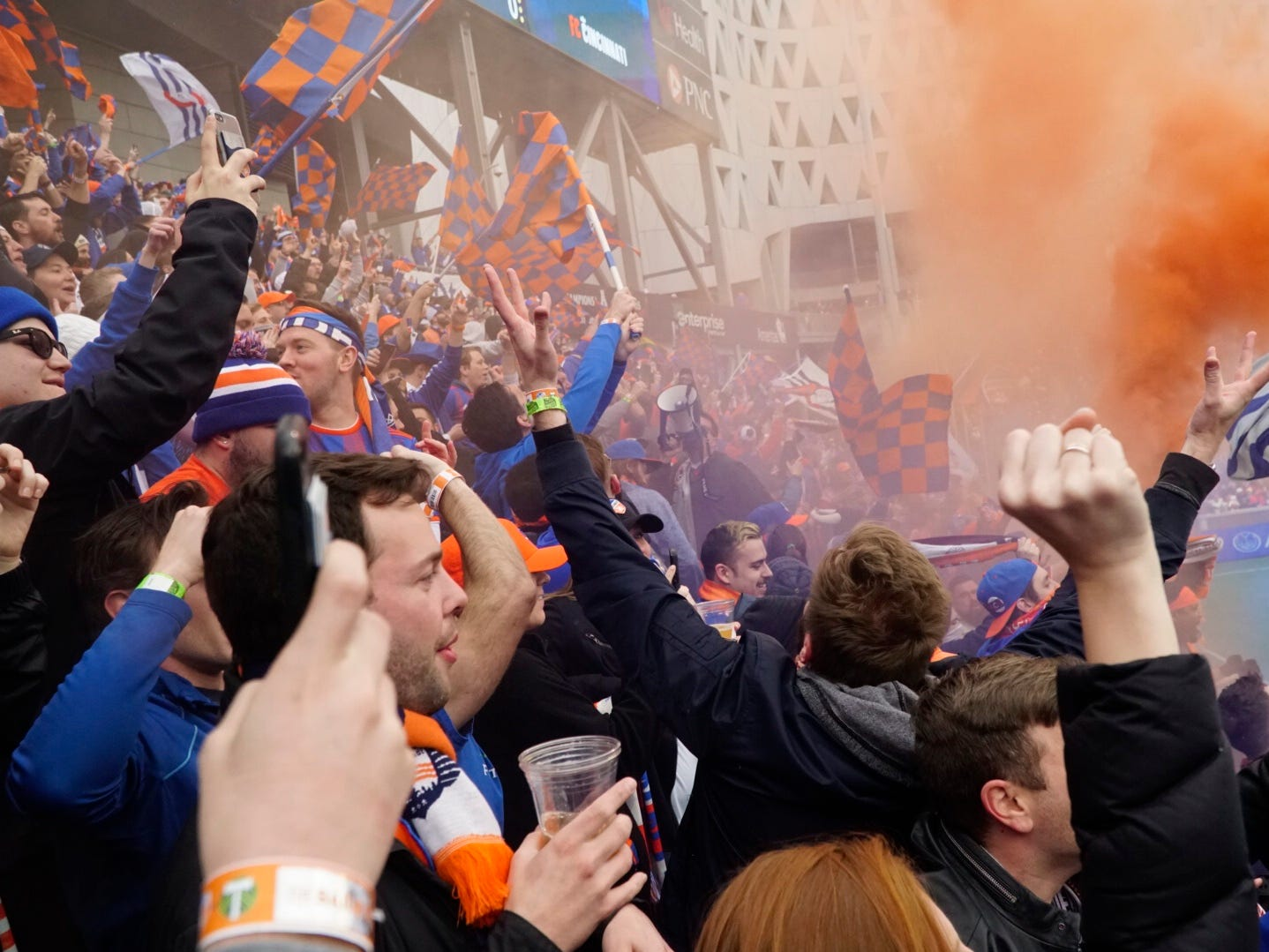 Fans celebrate Kendall Waston's goal in FC Cincinnati's home game against Portland at Nippert Stadium, March 17, 2019.