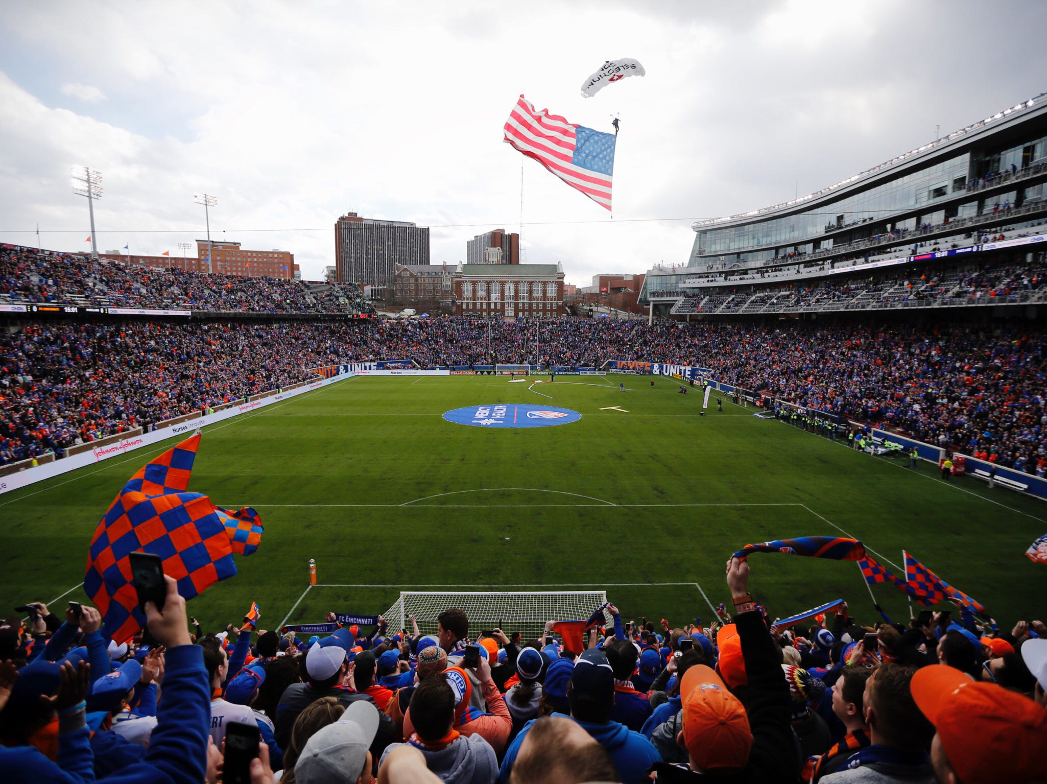 A record capacity crowd of 32,250 attends the MLS match between FC Cincinnati and Portland Timbers on Sunday, March 17, 2019, at Nippert Stadium in Cincinnati.