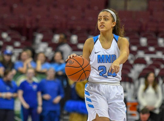 Gabbie Marshall of Mount Notre Dame call a play against Pickerington Central in the OHSAA Division I Championship at the Shottenstein Center in Columbus, OH, Saturday, March 16, 2019