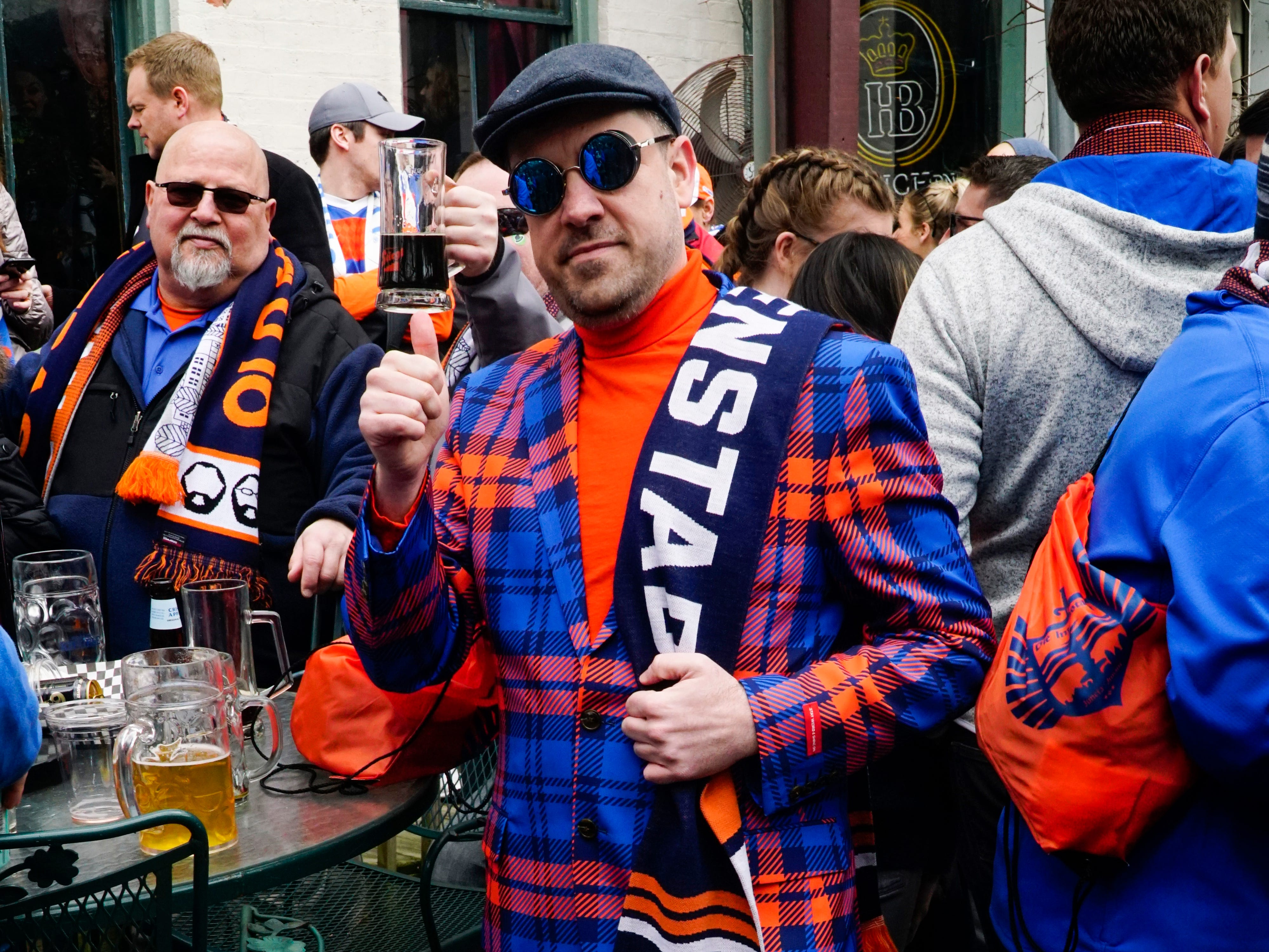 Geoff Tebbets buys a new FC Cincinnati themed suit at the start of every soccer season, March 17, 2019.