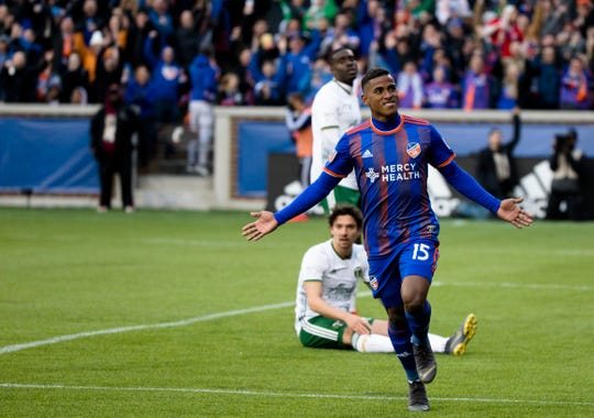FC Cincinnati midfielder Allan Cruz (15) celebrates after scoring a goal in the second half of the MLS match between FC Cincinnati and Portland Timbers on Sunday, March 17, 2019, at Nippert Stadium in Cincinnati.