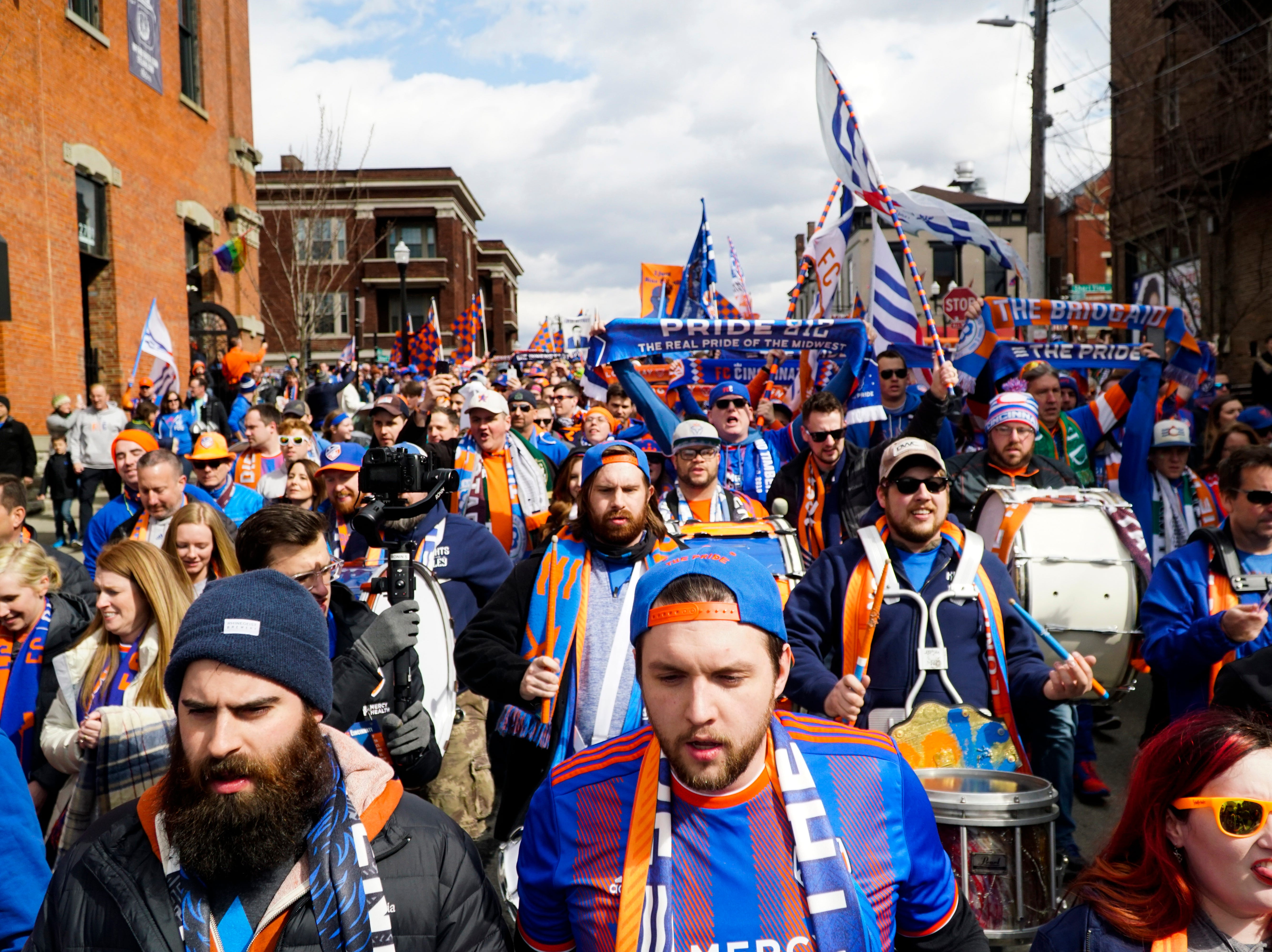 Fans before the first FC Cincinnati home game against Portland at Nippert Stadium, March 17, 2019.