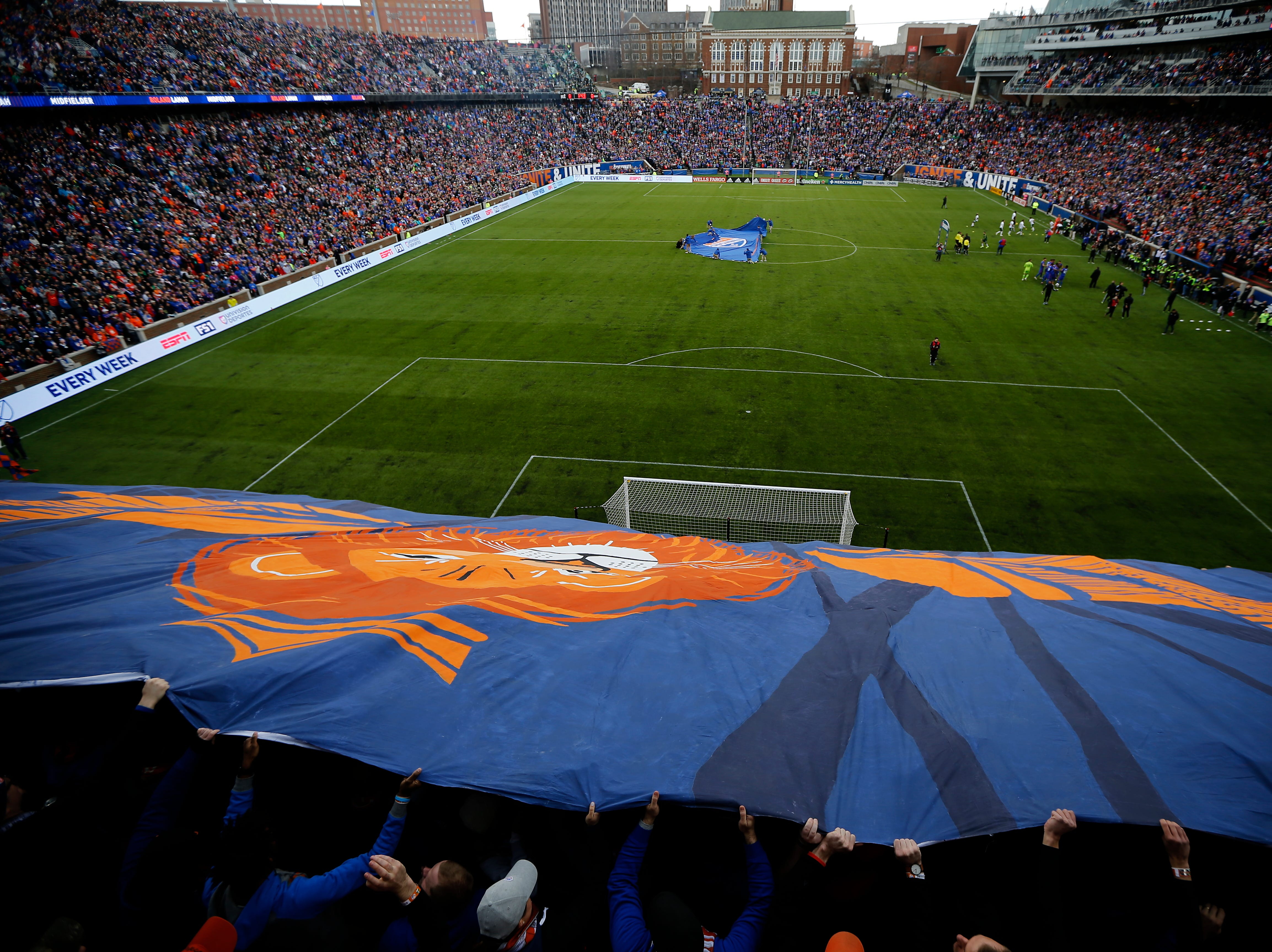 The Bailey cheers at the start of the first half of the MLS match between FC Cincinnati and the Portland Timbers at Nippert Stadium in Cincinnati on Sunday, March 17, 2019. FC Cincinnati led 1-0 at halftime.