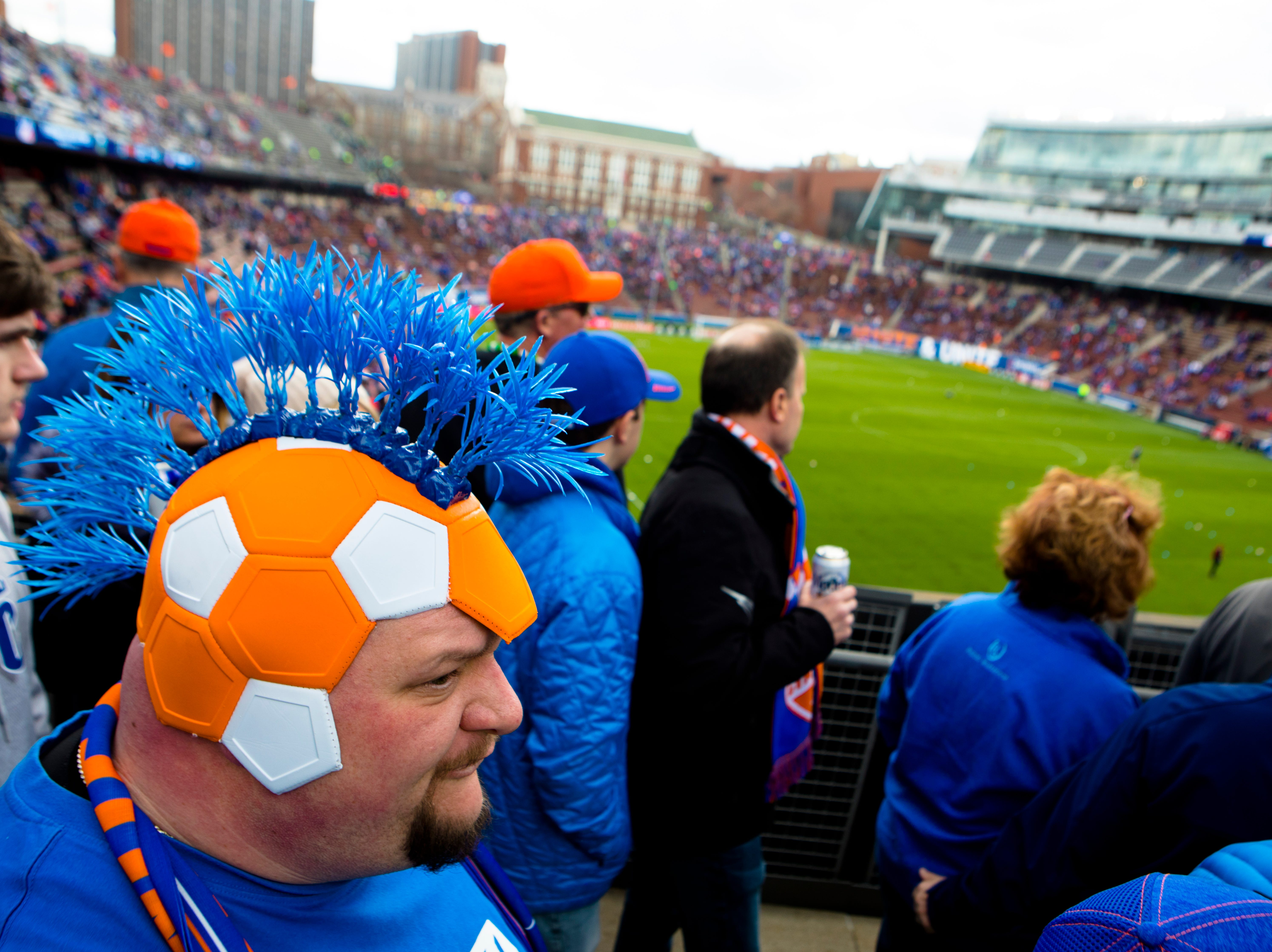 Josh Berling marches to the Bailey before the MLS match between FC Cincinnati and Portland Timbers on Sunday, March 17, 2019, at Nippert Stadium in Cincinnati.