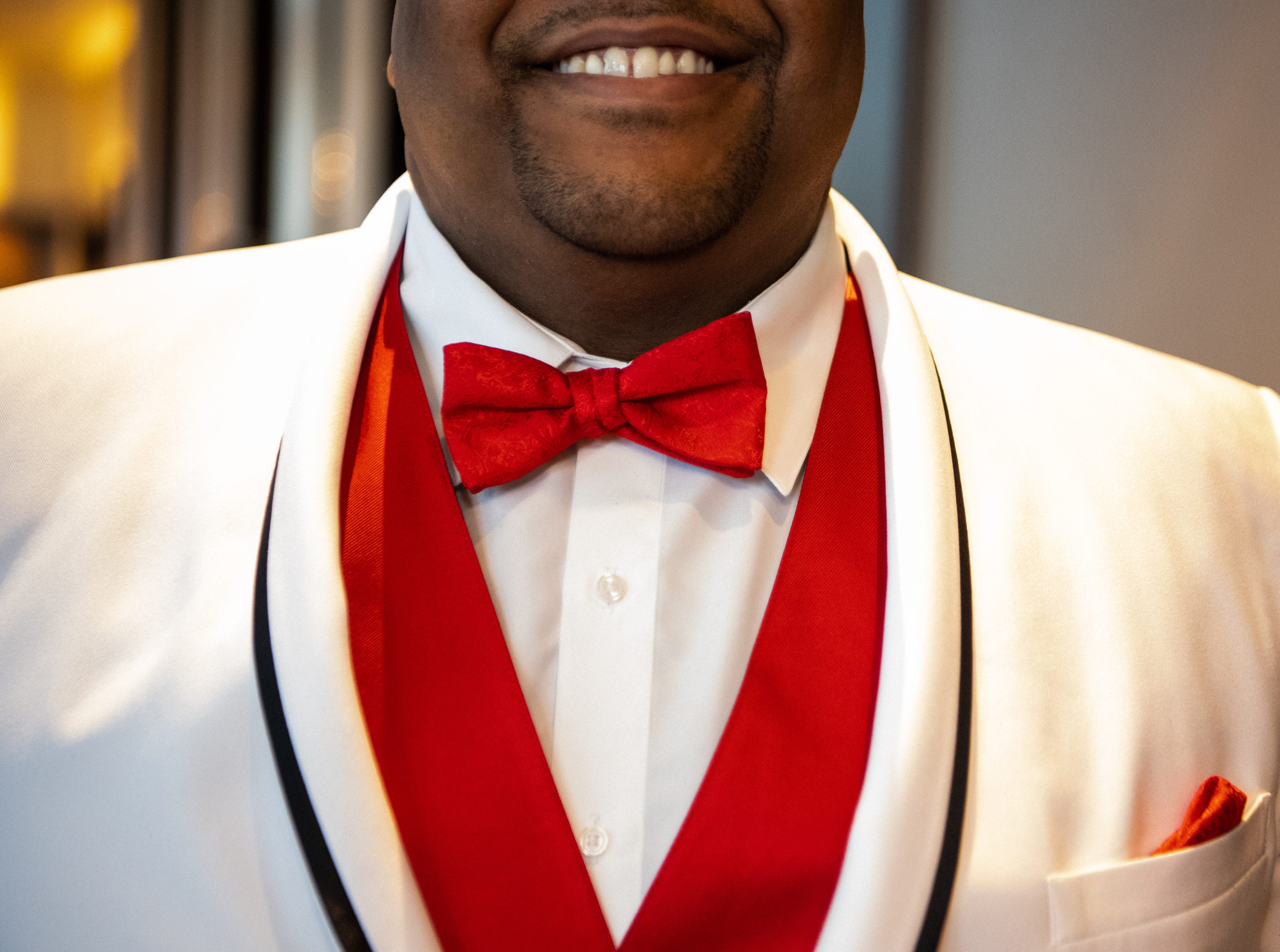 Lawrence Johnson wears APSU red during Austin Peay State University's annual Candlelight Ball at the Omni Nashville Hotel Saturday, March 16, 2019, in Nashville, Tenn.