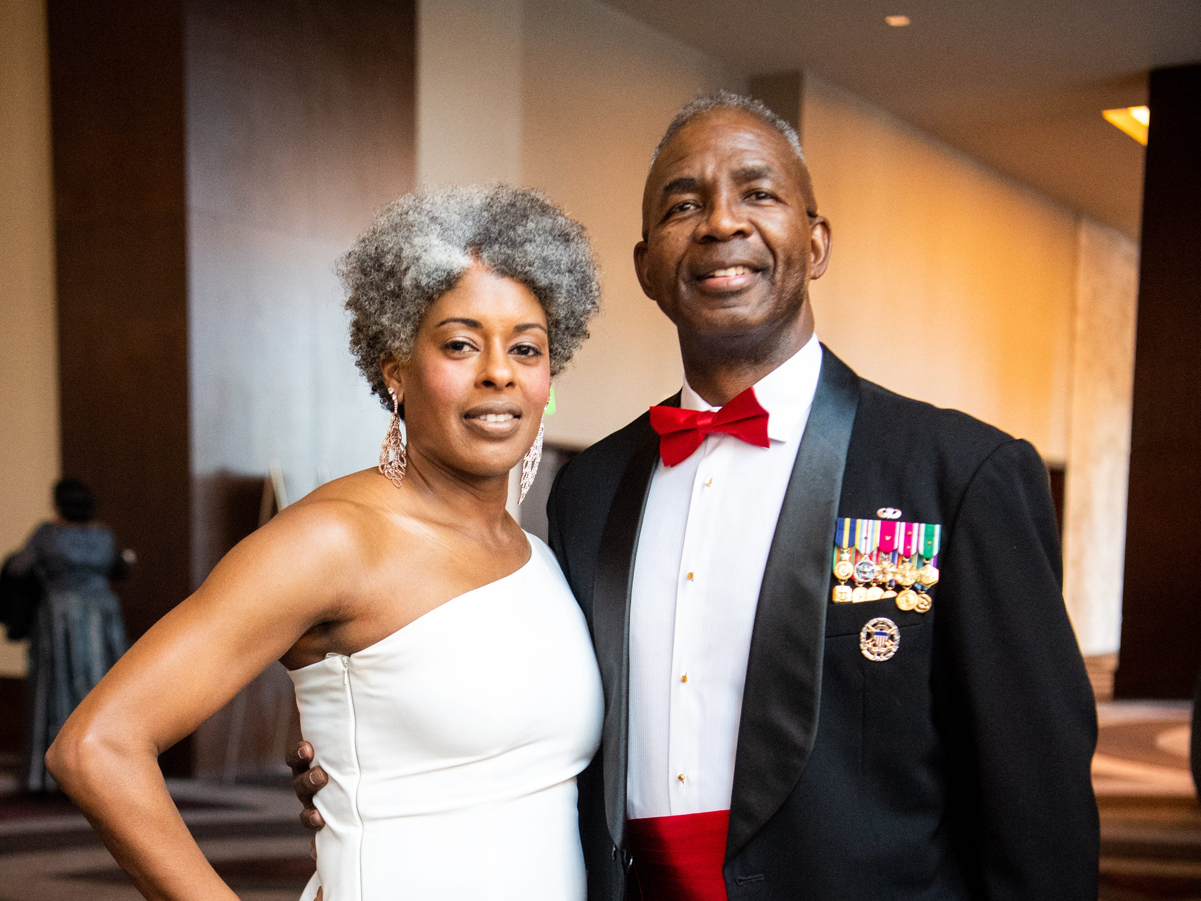 APSU alum and former employee Janet Wilson and retired Lt. Gen. Ron Bailey, APSU's vice president of external affairs pose for a photo during Austin Peay State University's annual Candlelight Ball at the Omni Nashville Hotel Saturday, March 16, 2019, in Nashville, Tenn.
