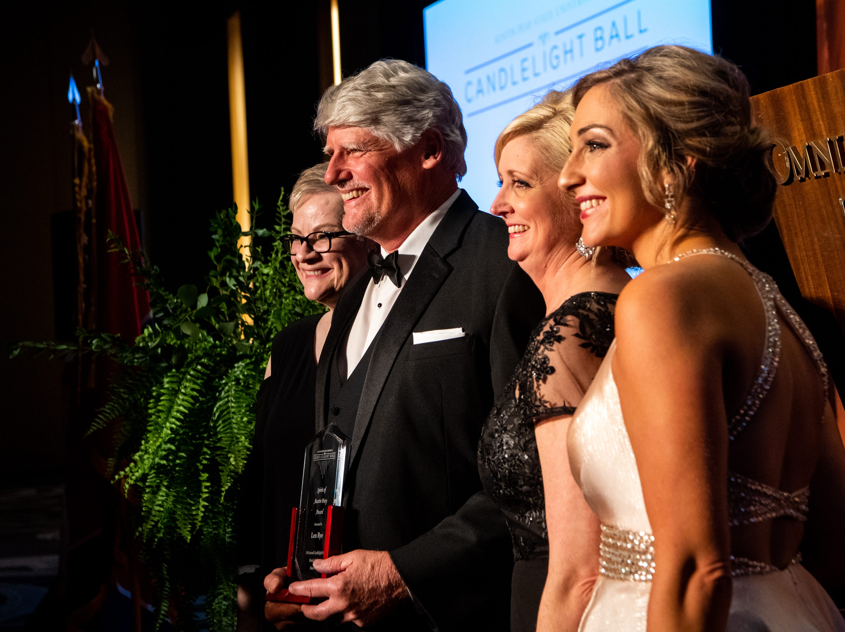 Len Rye receives the Spirit of Austin Peay Award during Austin Peay State University's annual Candlelight Ball at the Omni Nashville Hotel Saturday, March 16, 2019, in Nashville, Tenn.