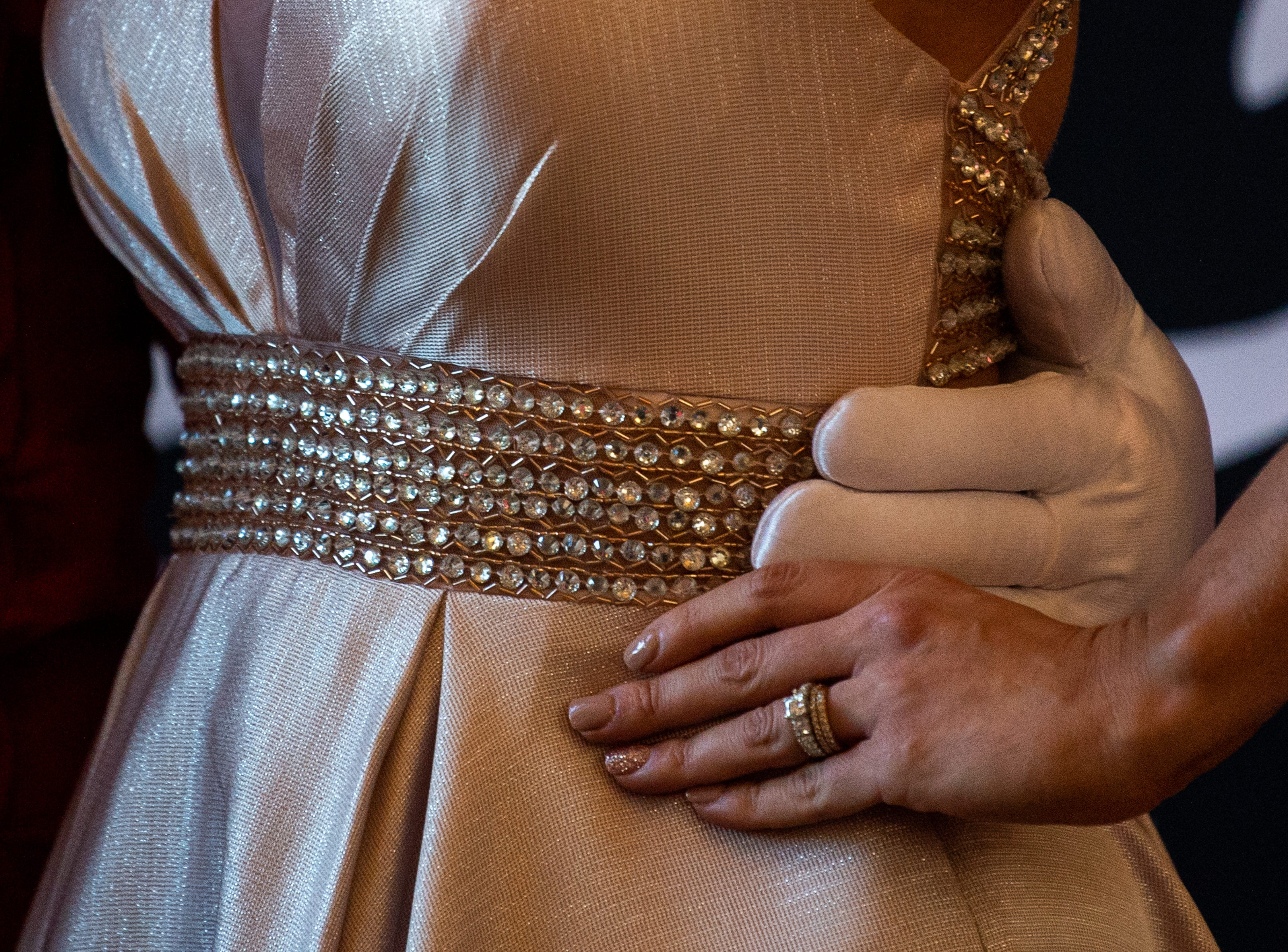 The Governor places his hand on Kathryn Minniehan's waist during Austin Peay State University's annual Candlelight Ball at the Omni Nashville Hotel Saturday, March 16, 2019, in Nashville, Tenn.