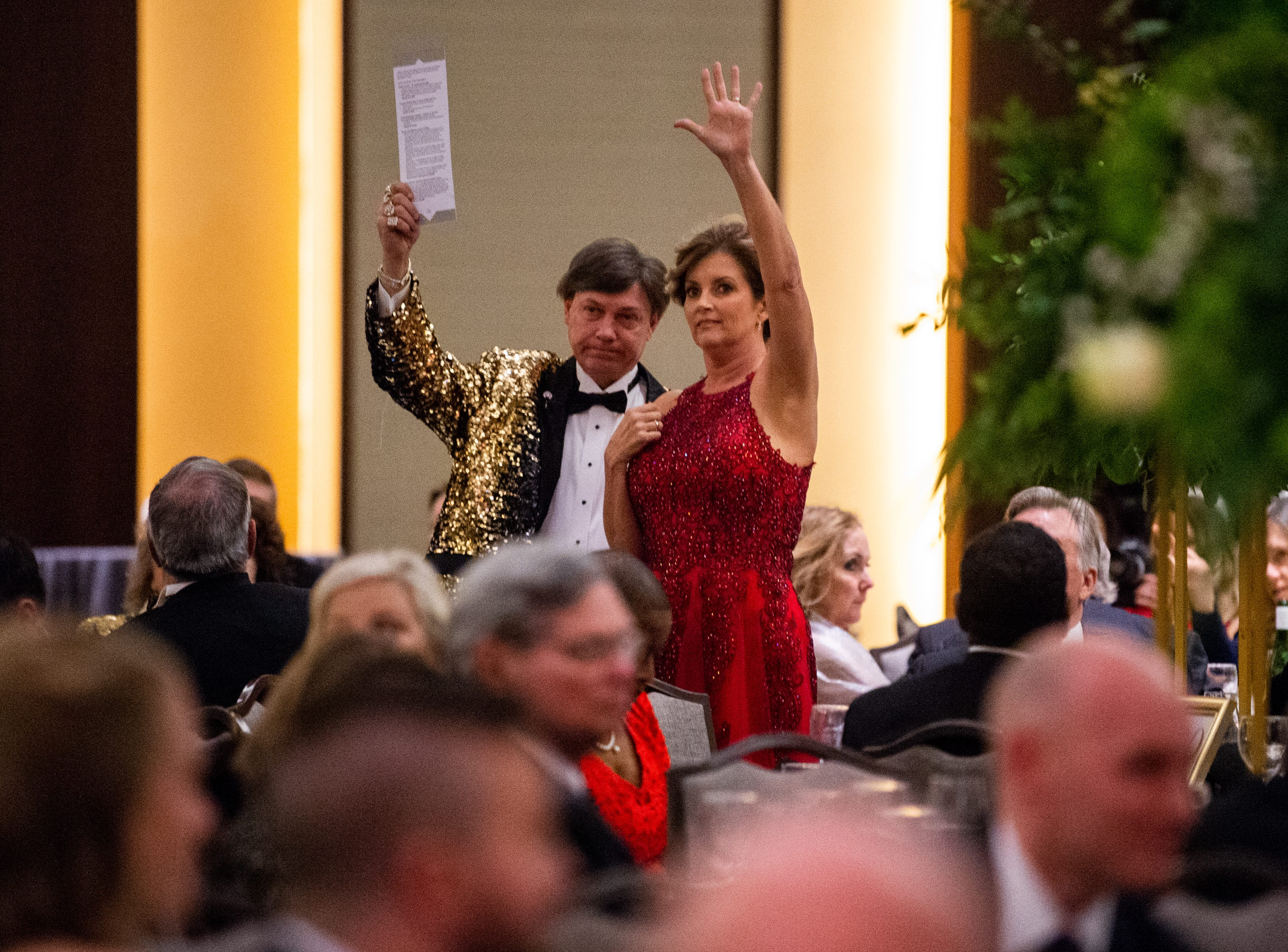 Kevin Kennedy bids over $5,000 on the Music City packageÊduring Austin Peay State University's annual Candlelight Ball at the Omni Nashville Hotel Saturday, March 16, 2019, in Nashville, Tenn.