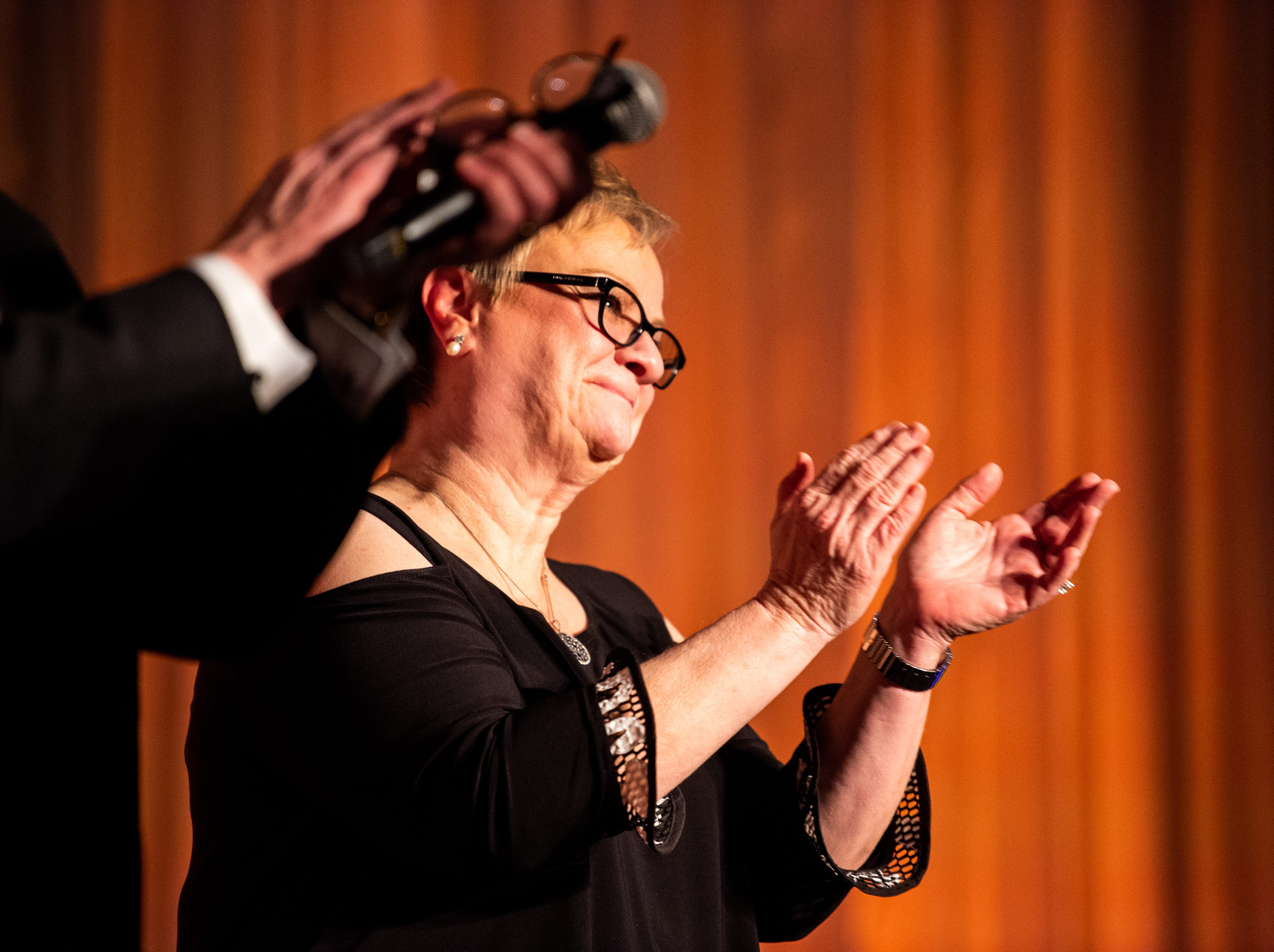 APSU President Dr. Alisa White is recognized during Austin Peay State University's annual Candlelight Ball at the Omni Nashville Hotel Saturday, March 16, 2019, in Nashville, Tenn.