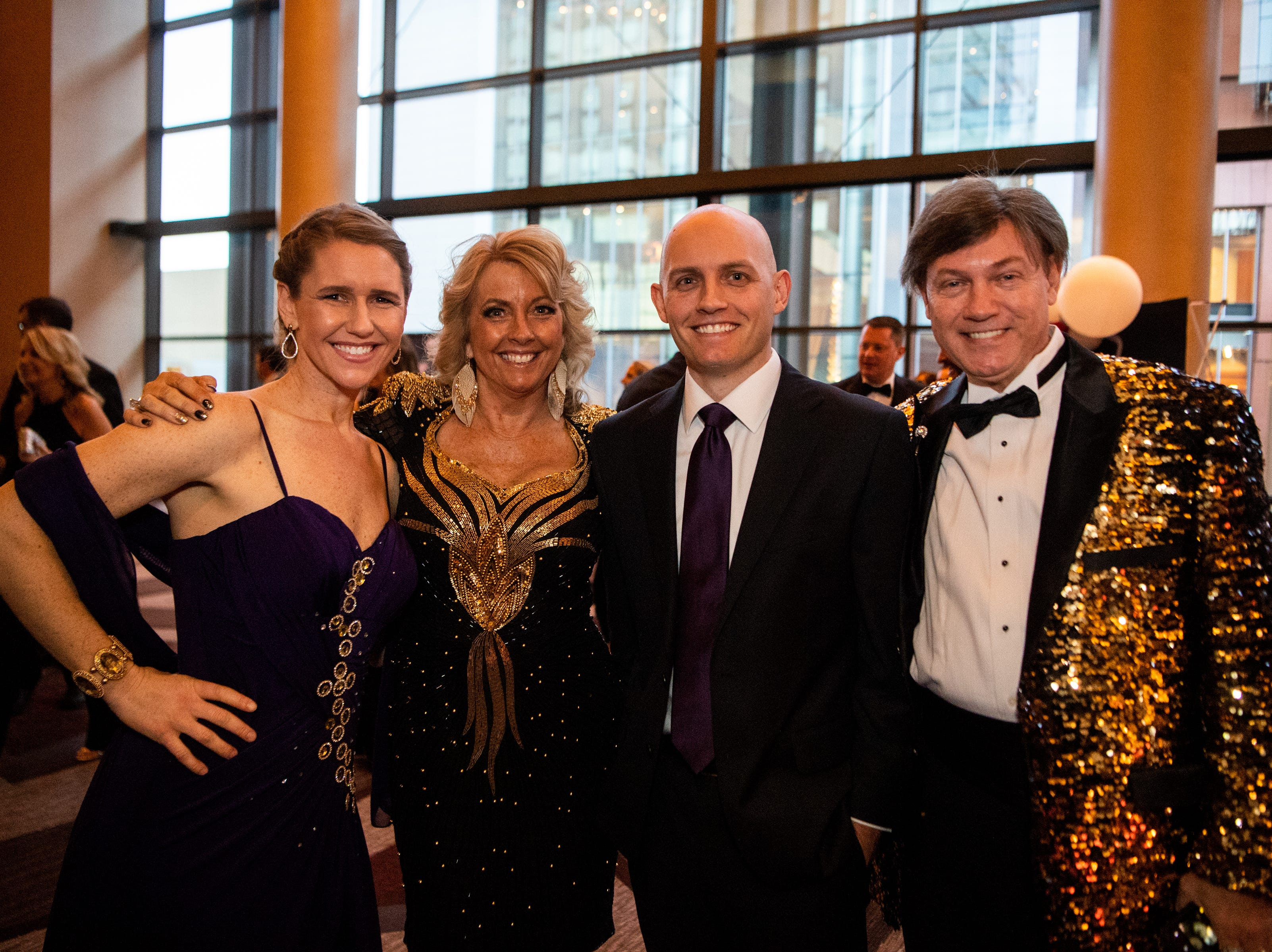 Adonia, Rhonda, Kevin Jr. and Kevin Kennedy (from left) pose for a photo during Austin Peay State University's annual Candlelight Ball at the Omni Nashville Hotel Saturday, March 16, 2019, in Nashville, Tenn.