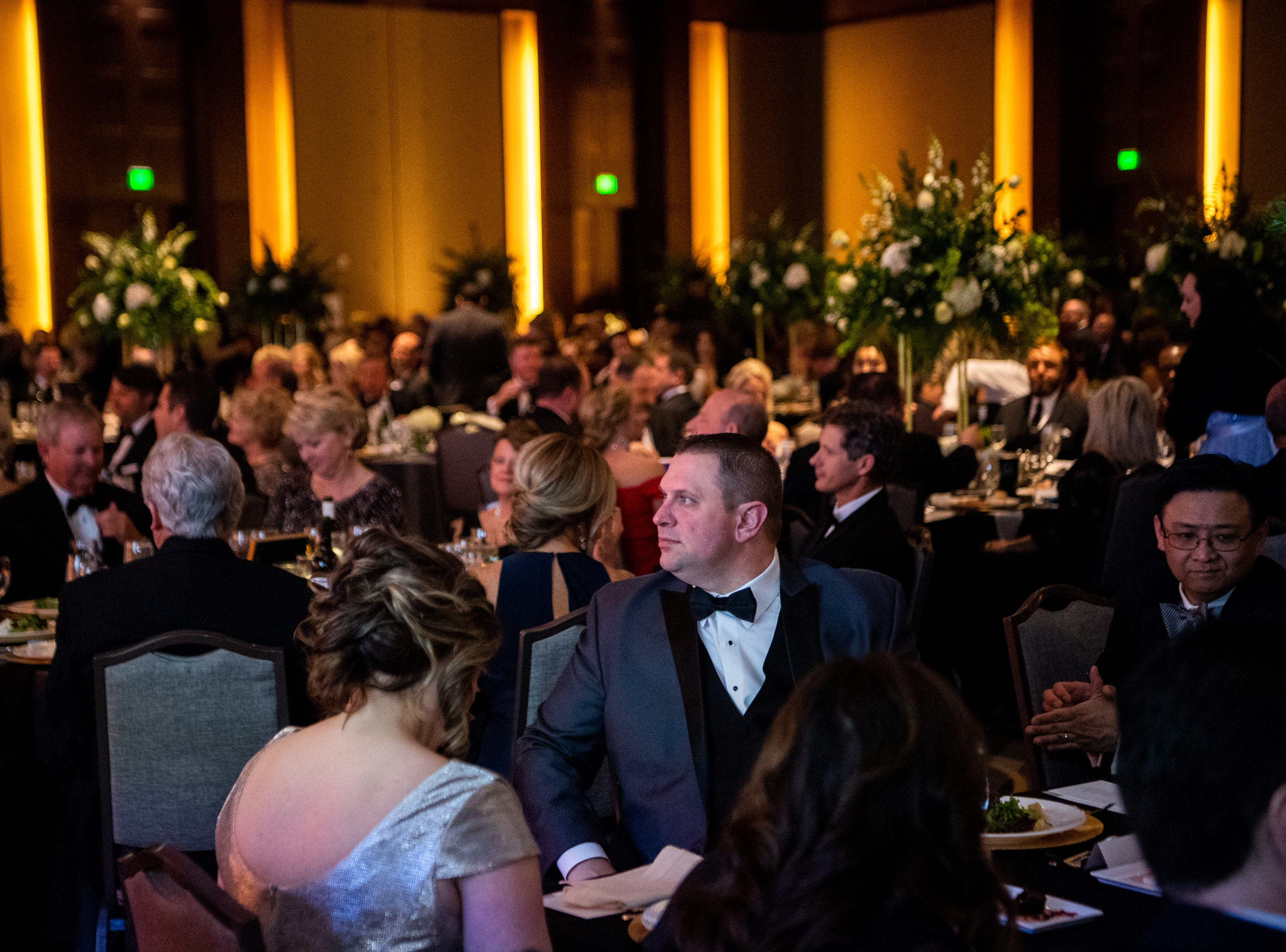 People gather for the Austin Peay State University's annual Candlelight Ball at the Omni Nashville Hotel Saturday, March 16, 2019, in Nashville, Tenn.