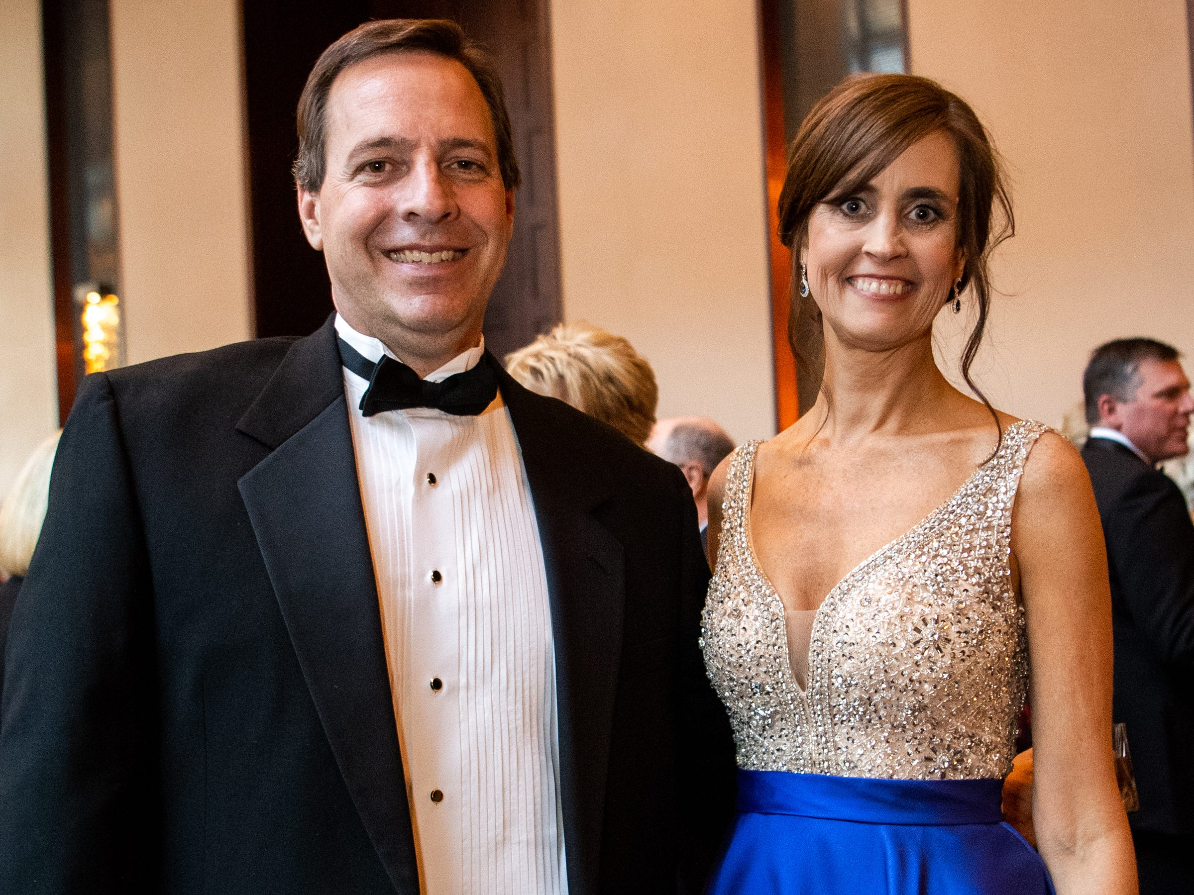Rob and Ginna Holleman pose for a photo during Austin Peay State University's annual Candlelight Ball at the Omni Nashville Hotel Saturday, March 16, 2019, in Nashville, Tenn.
