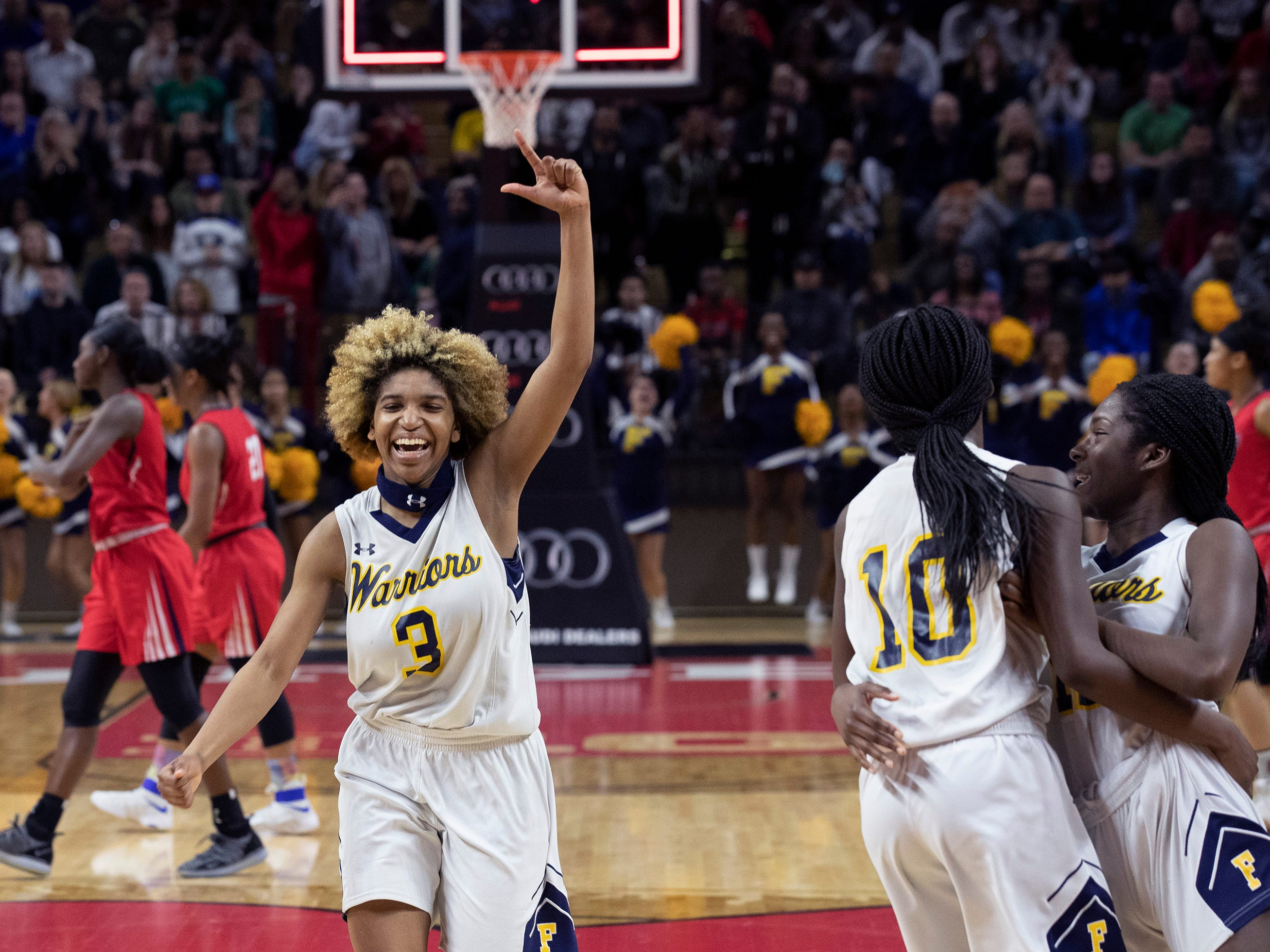 Tiana Jackson celebrates their win as the clock runs down. Franklin Girls Basketball vs Saddle River Day School  in 2019 NJSIAA Tournament of Champions Final in Piscataway, NJ  on March 17, 2019.